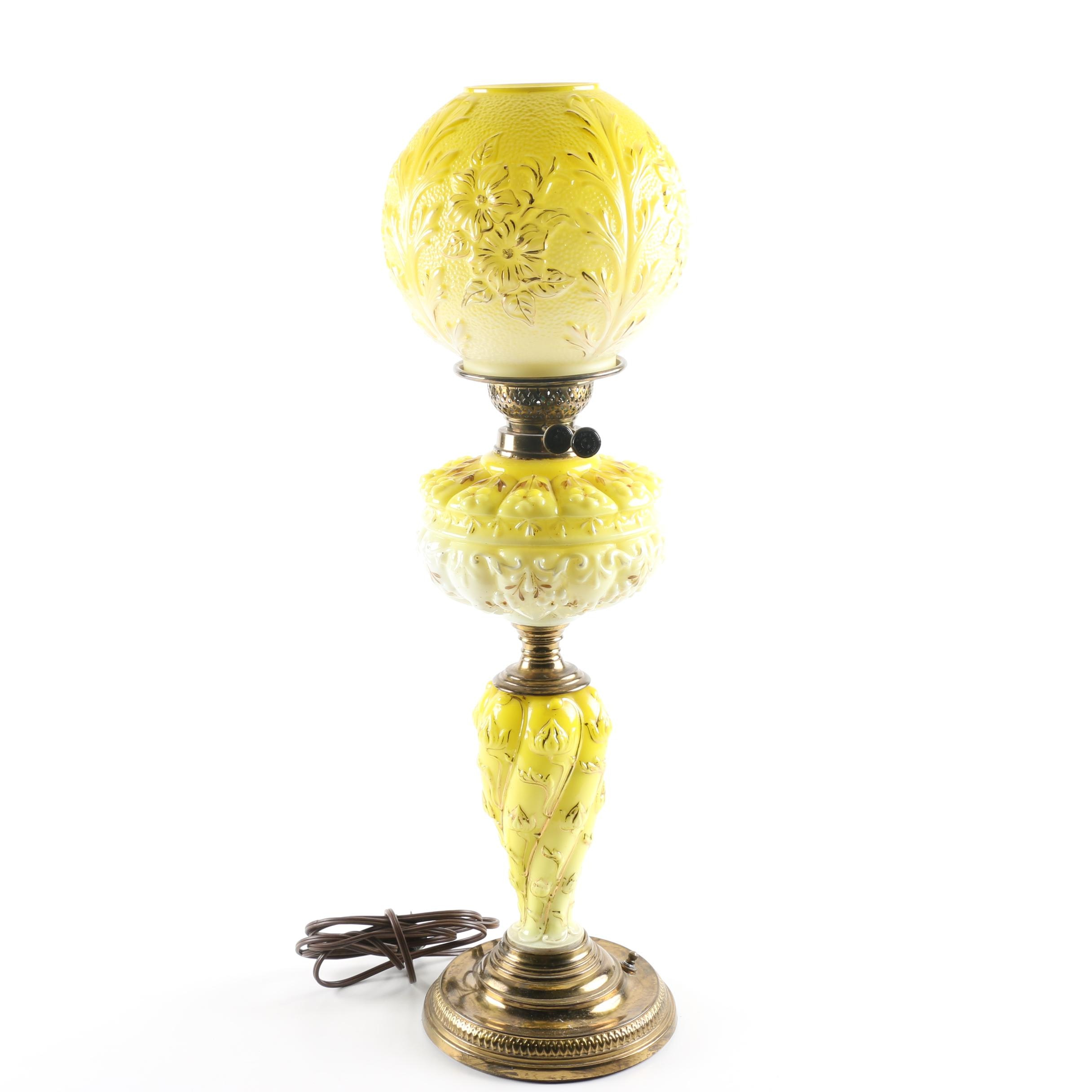 Antique Young's Yellow Glass Parlor Lamp