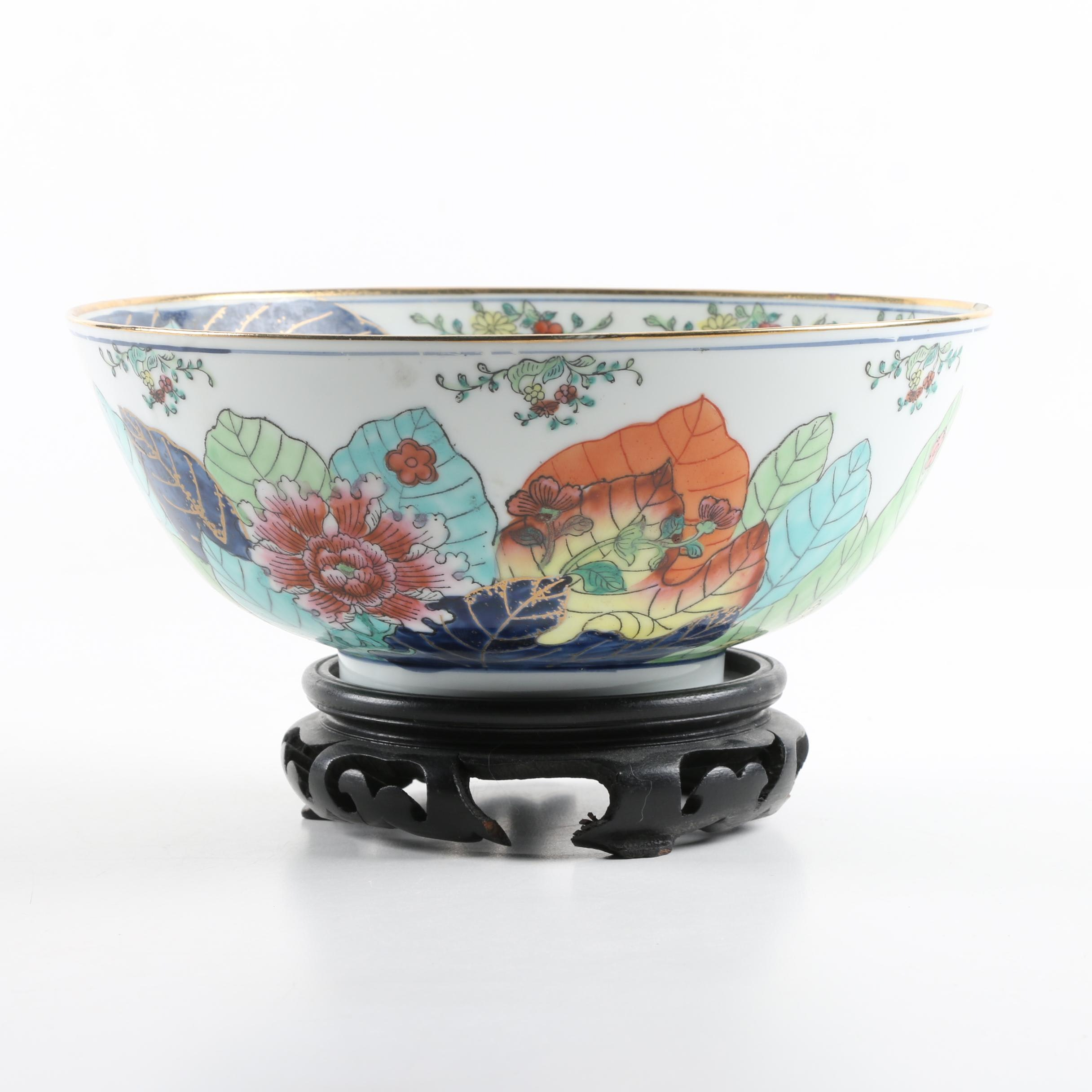 Vintage Chinese Hand-embellished Porcelain Bowl