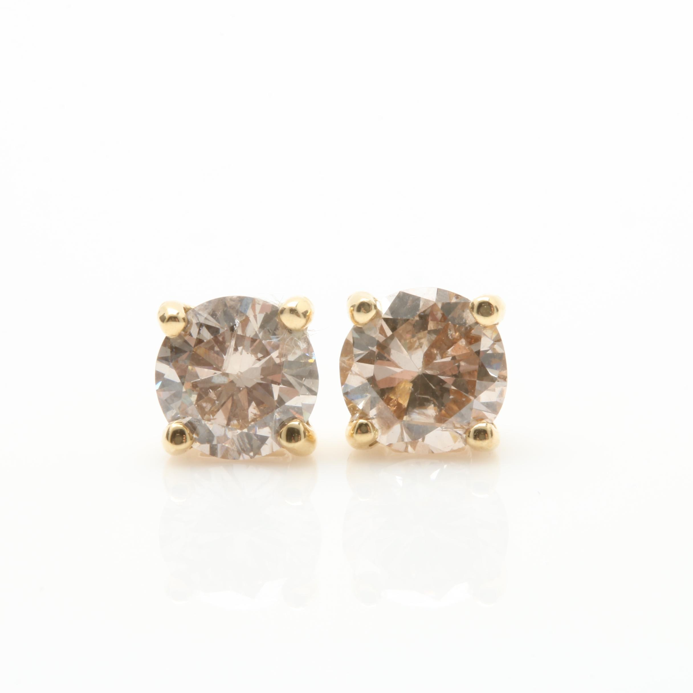 14K Yellow Gold 1.02 CTW Diamond Stud Earrings