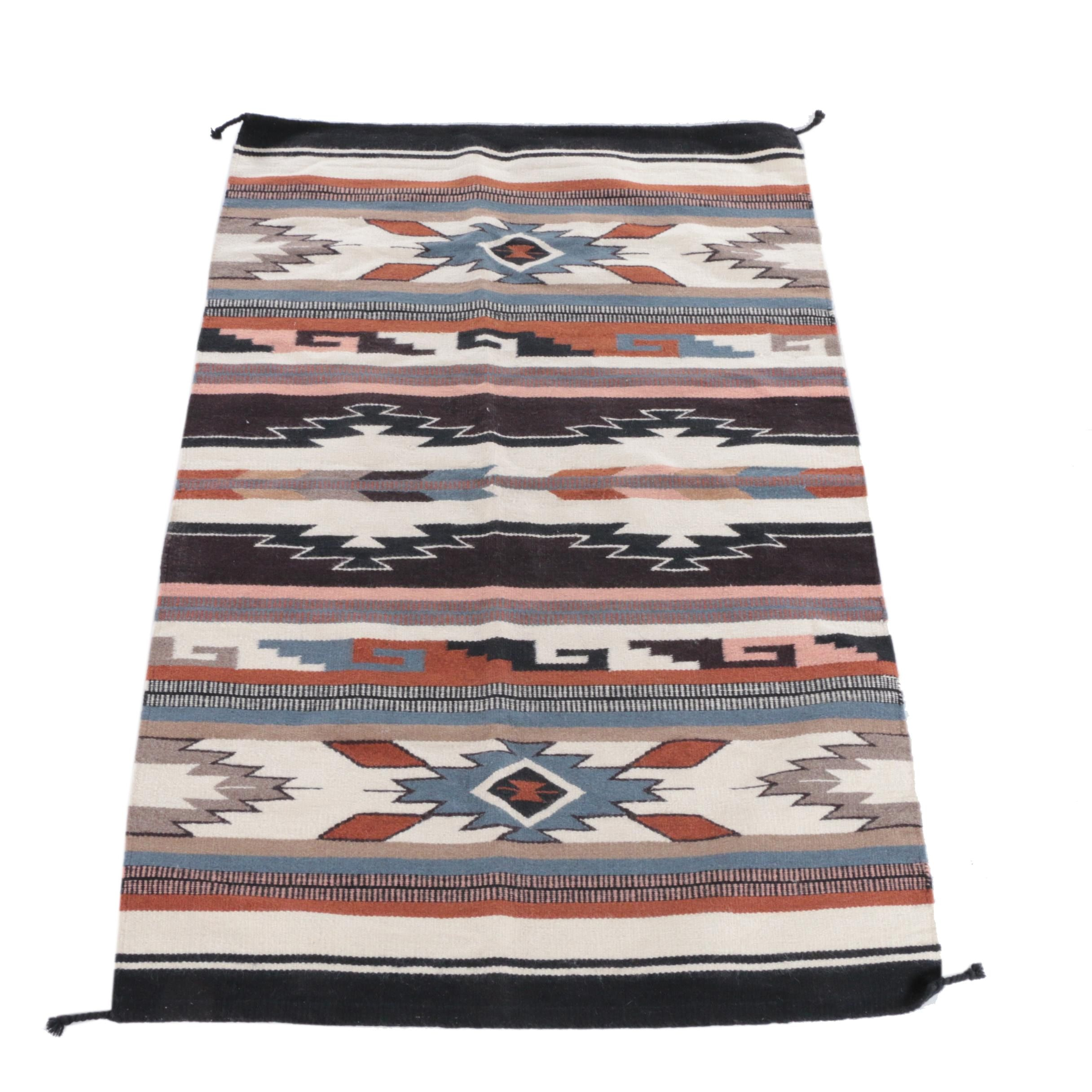 Handwoven Native American Style  Wool Accent Rug
