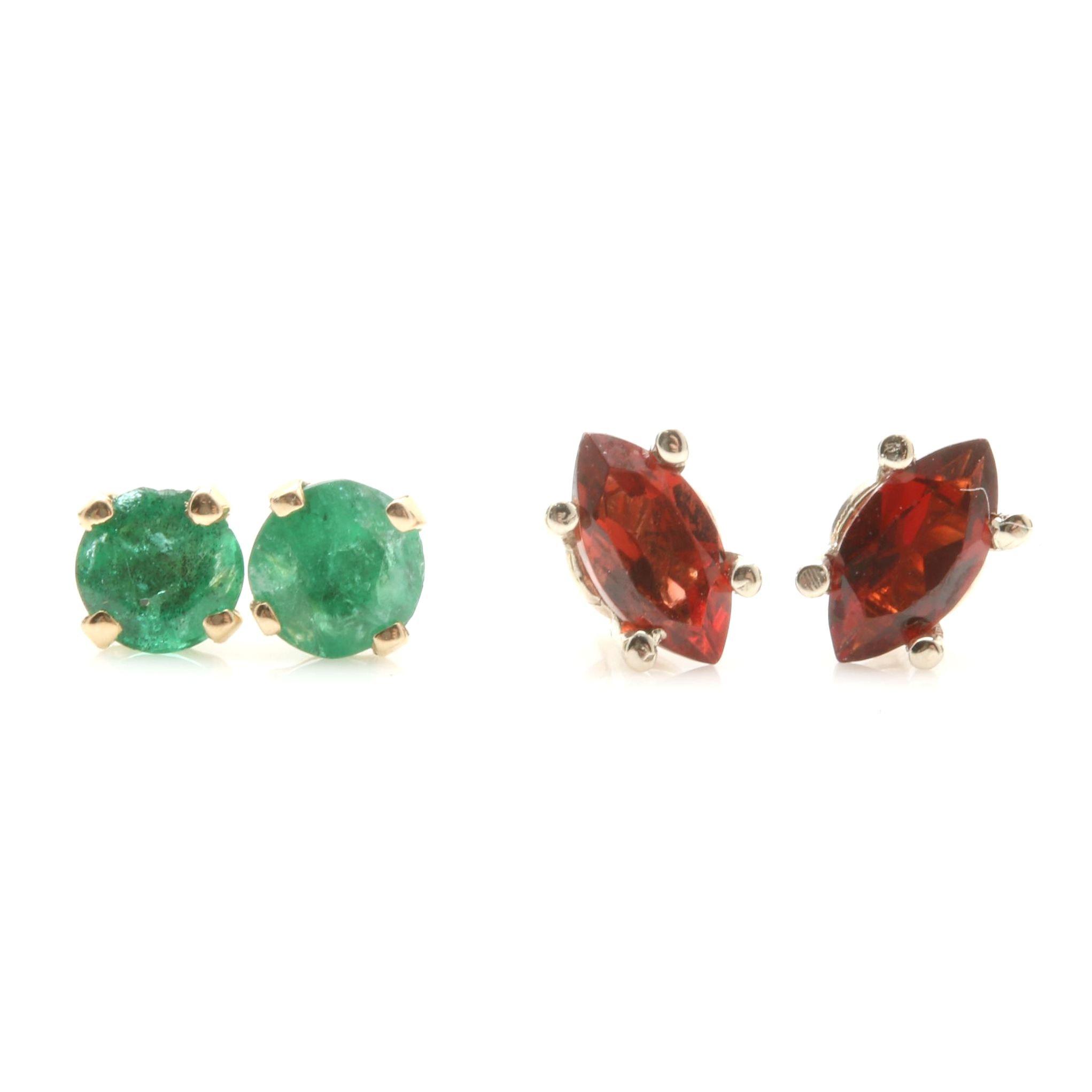 14K Yellow Gold Emerald Earrings and 14K White Gold Garnet Earrings