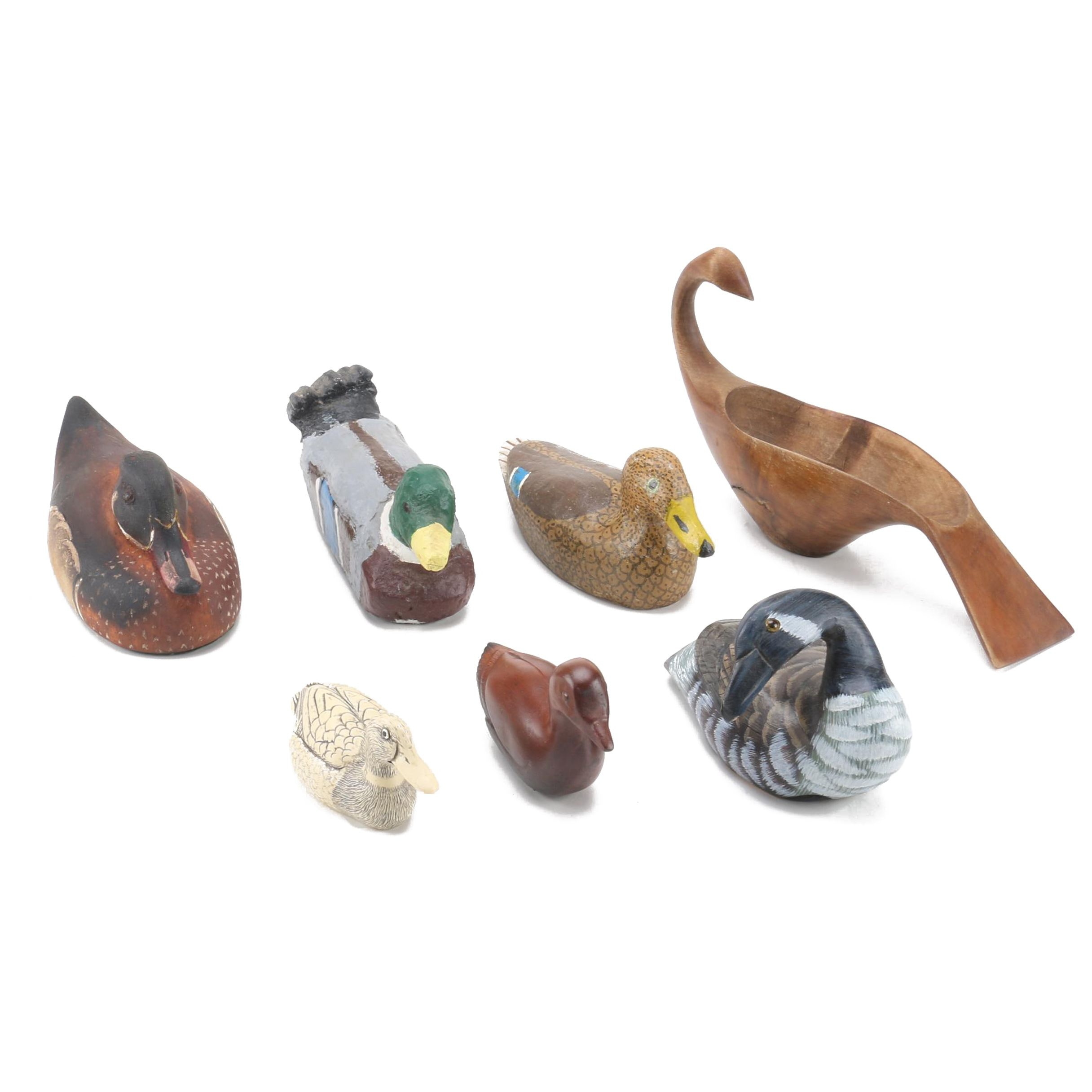 Hand-Painted Wooden Duck Figurines