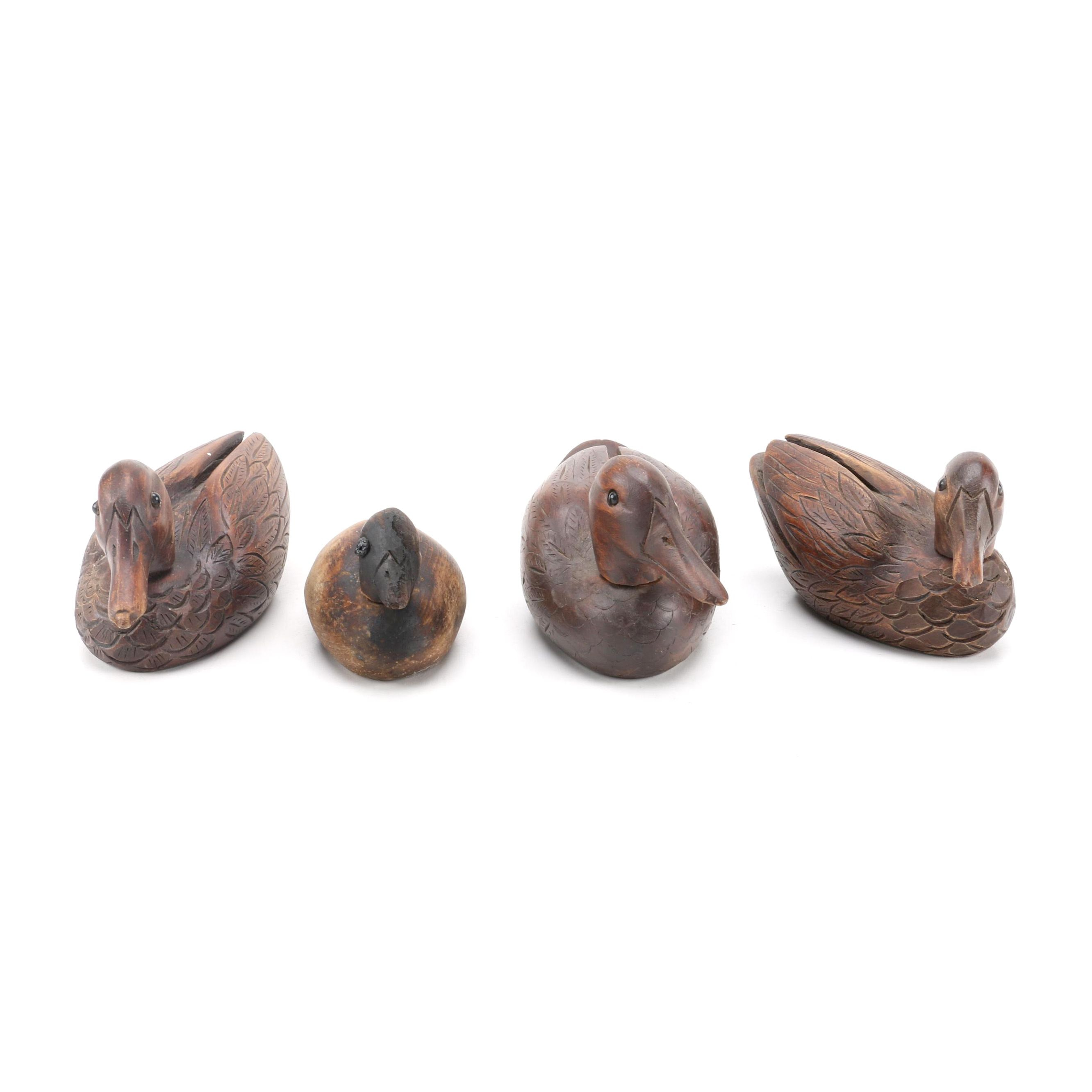Collection of Vintage Hand Carved Wooden Ducks