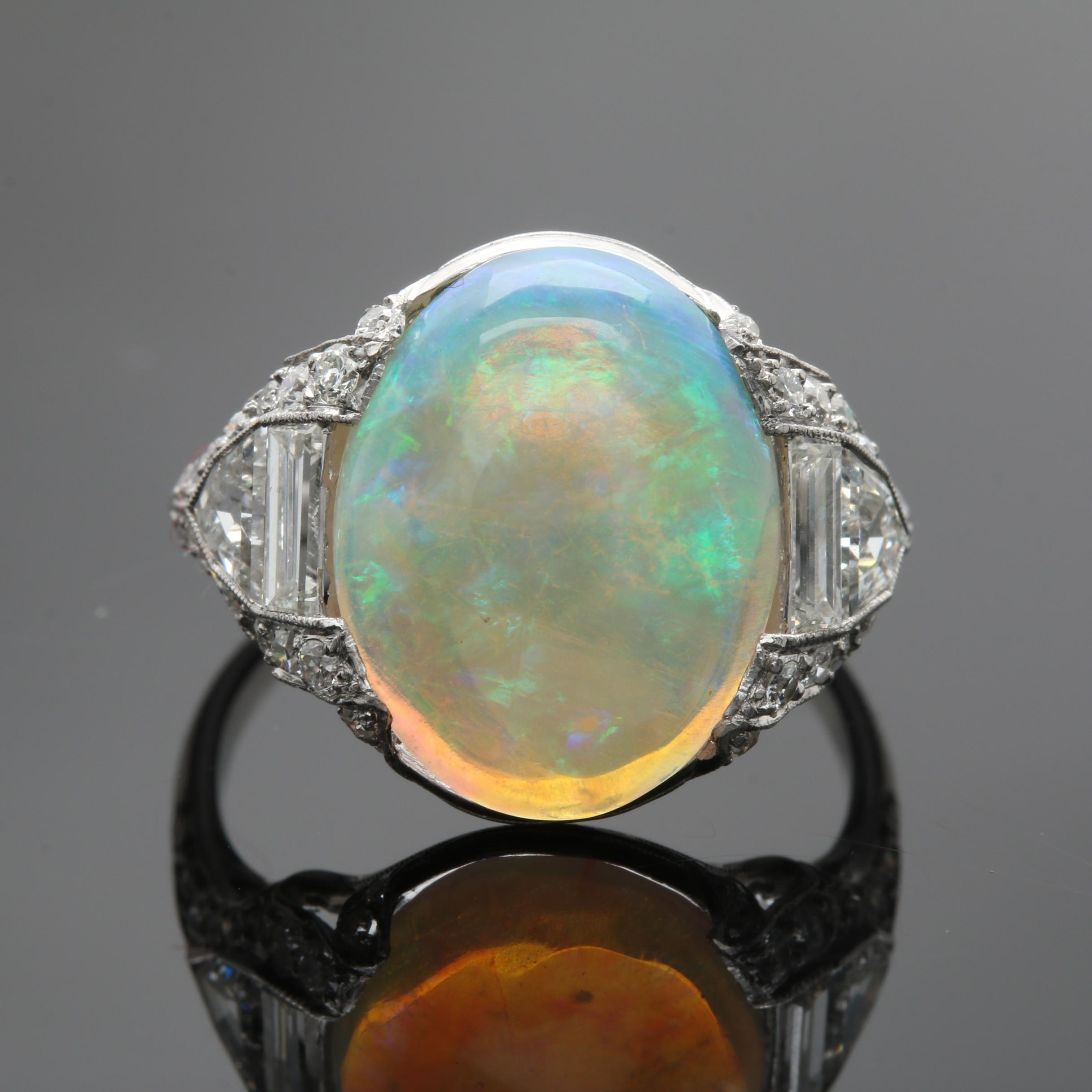 Platinum Opal and 1.05 CTW Diamond Ring