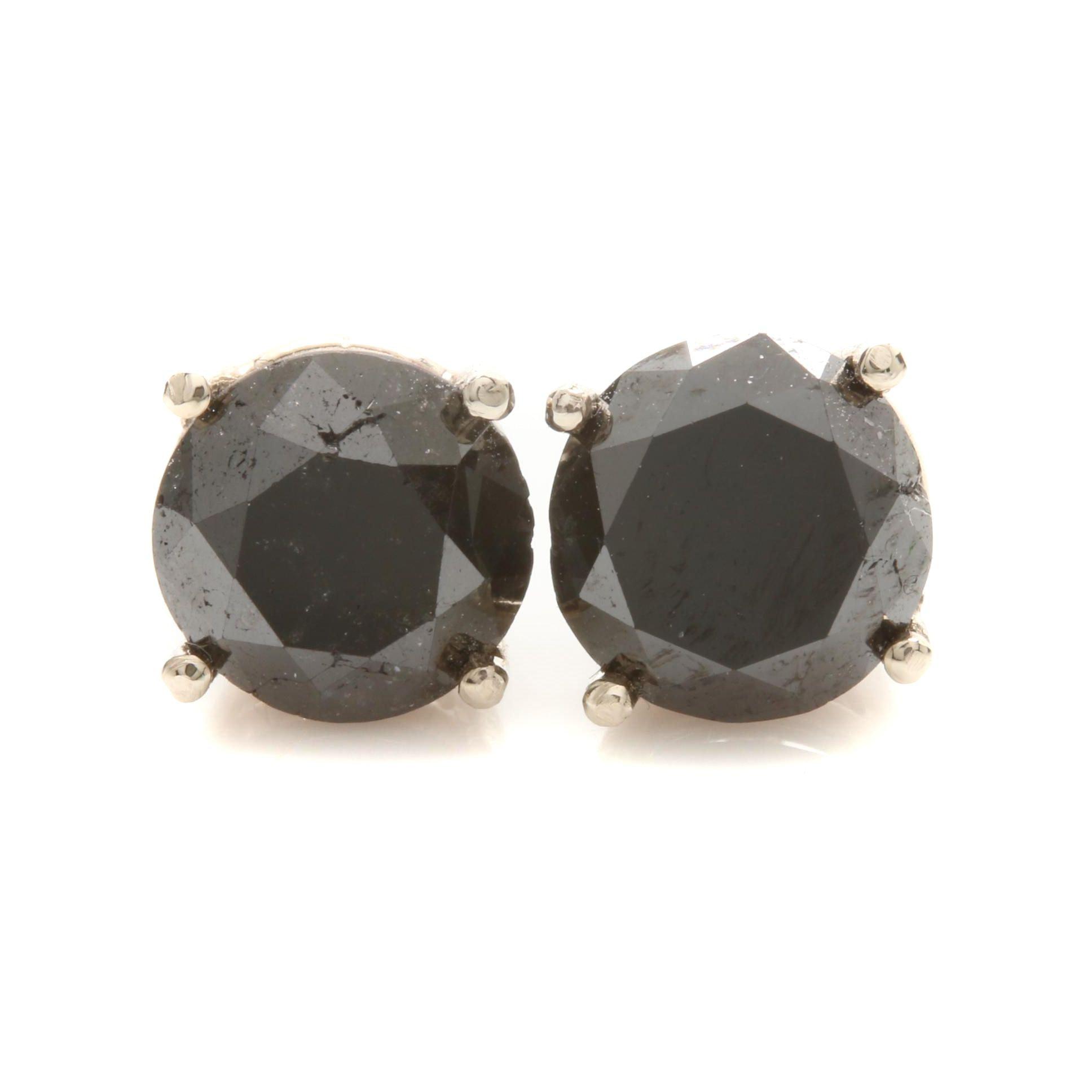 14K White Gold 2.92 CTW Black Diamond Stud Earrings