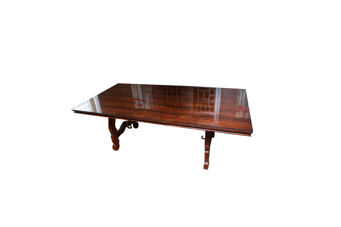 Farmhouse Style Dining Table with Glass