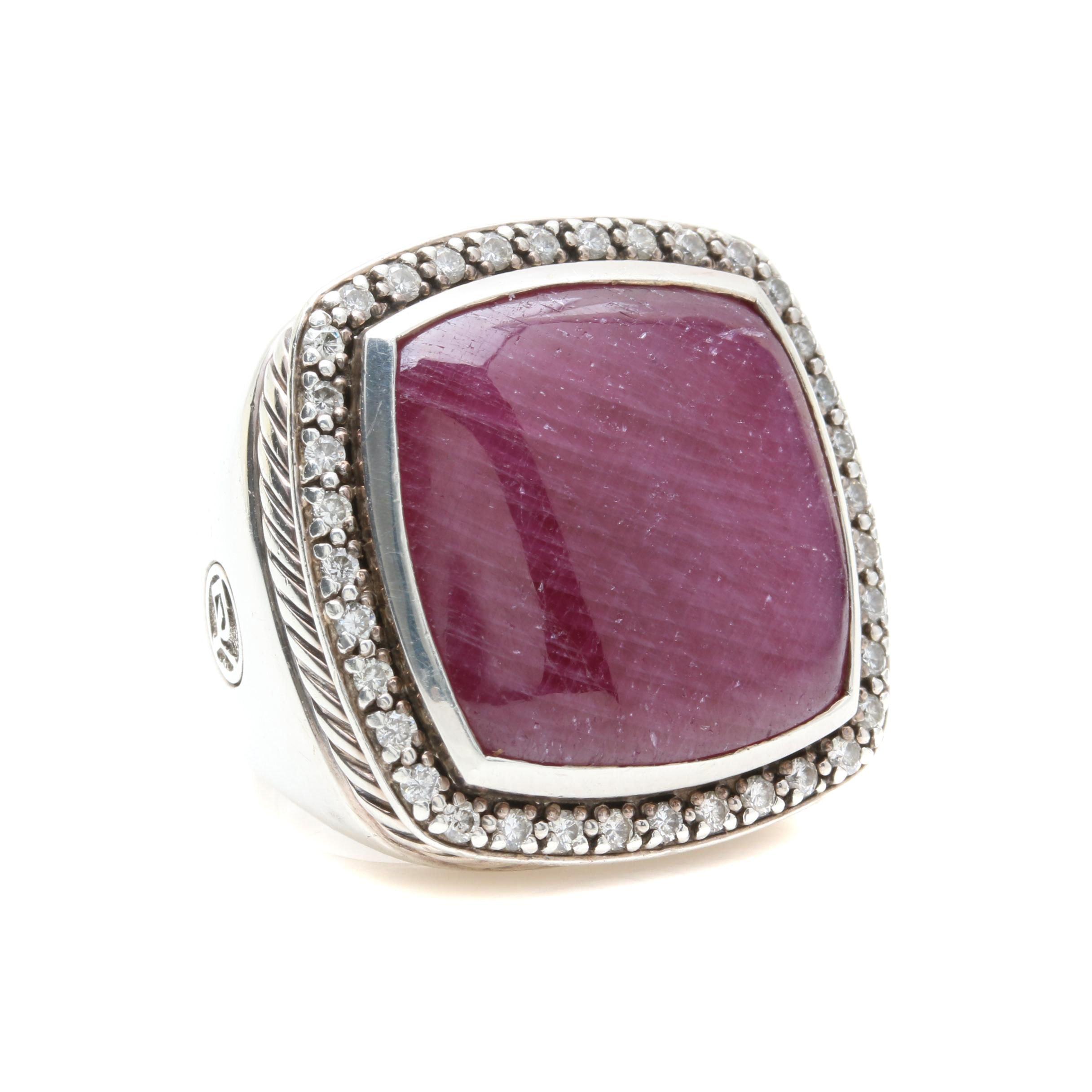 David Yurman Sterling Silver Ruby and Diamond Ring