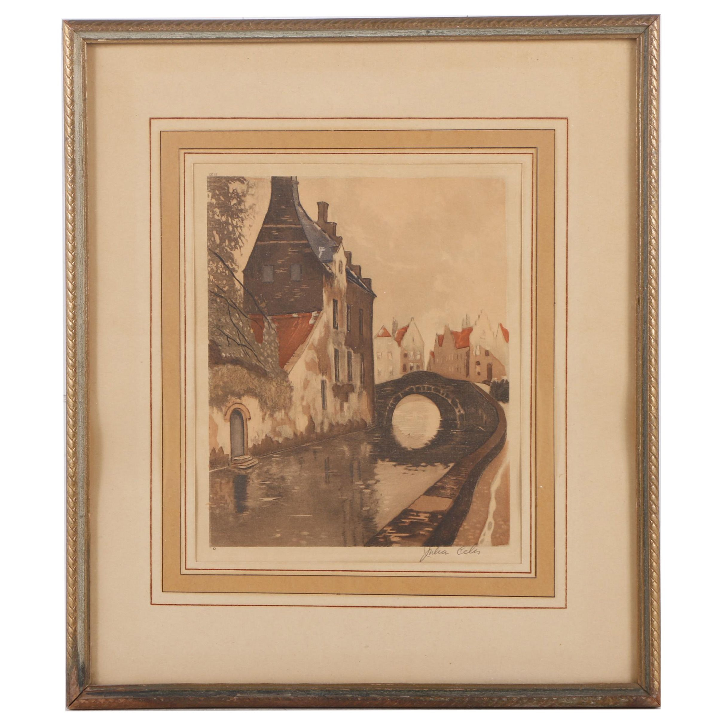 Hand Colored Mixed Media Print of a European Canal Scene