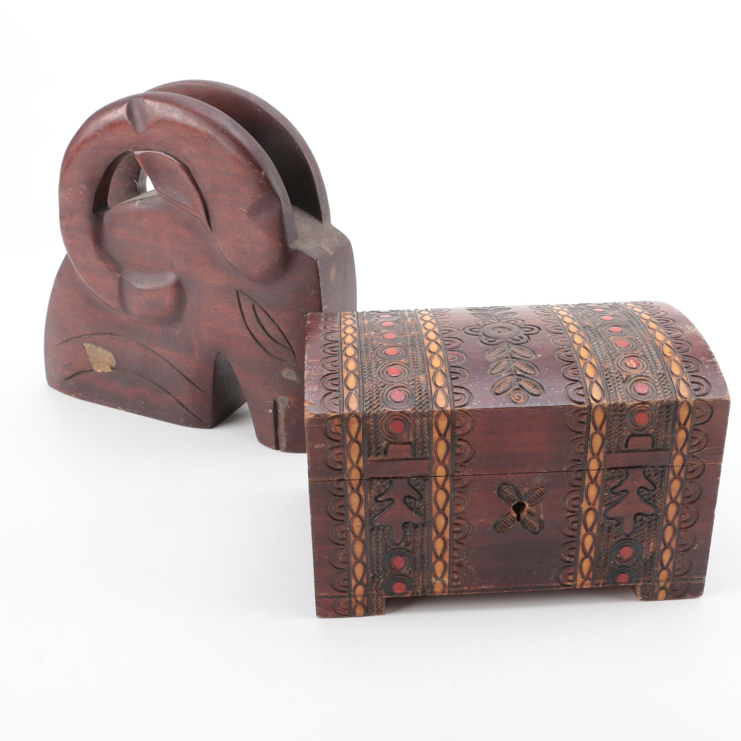 Haitian Solid Mahogany Ram Paperweight and Wooden Chest