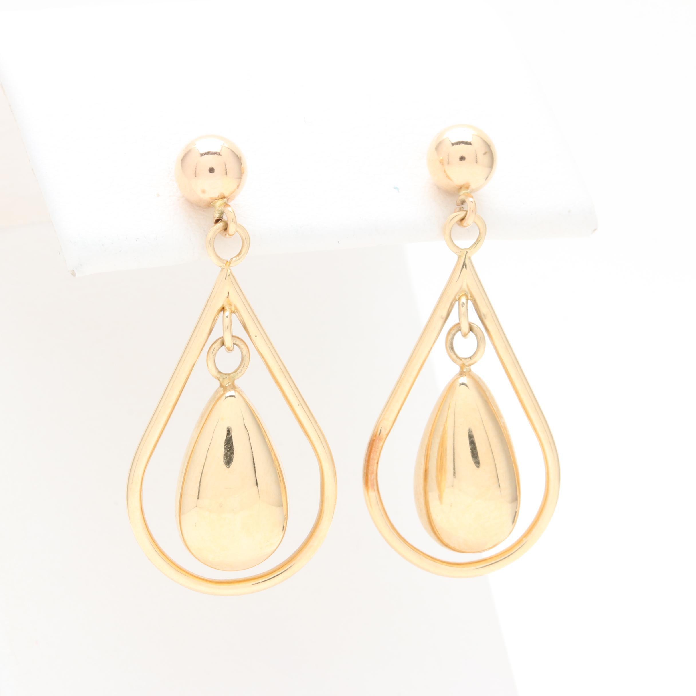 14K Yellow Gold Pear Drop Earrings