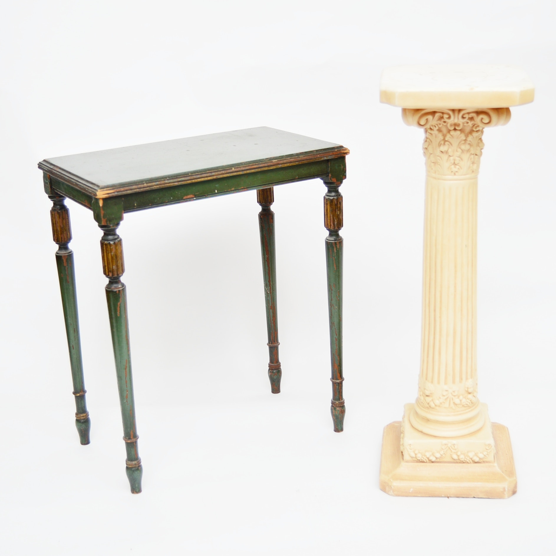 Robert Mitchell Neoclassic Style Side Table And Neoclassic Style Column ...