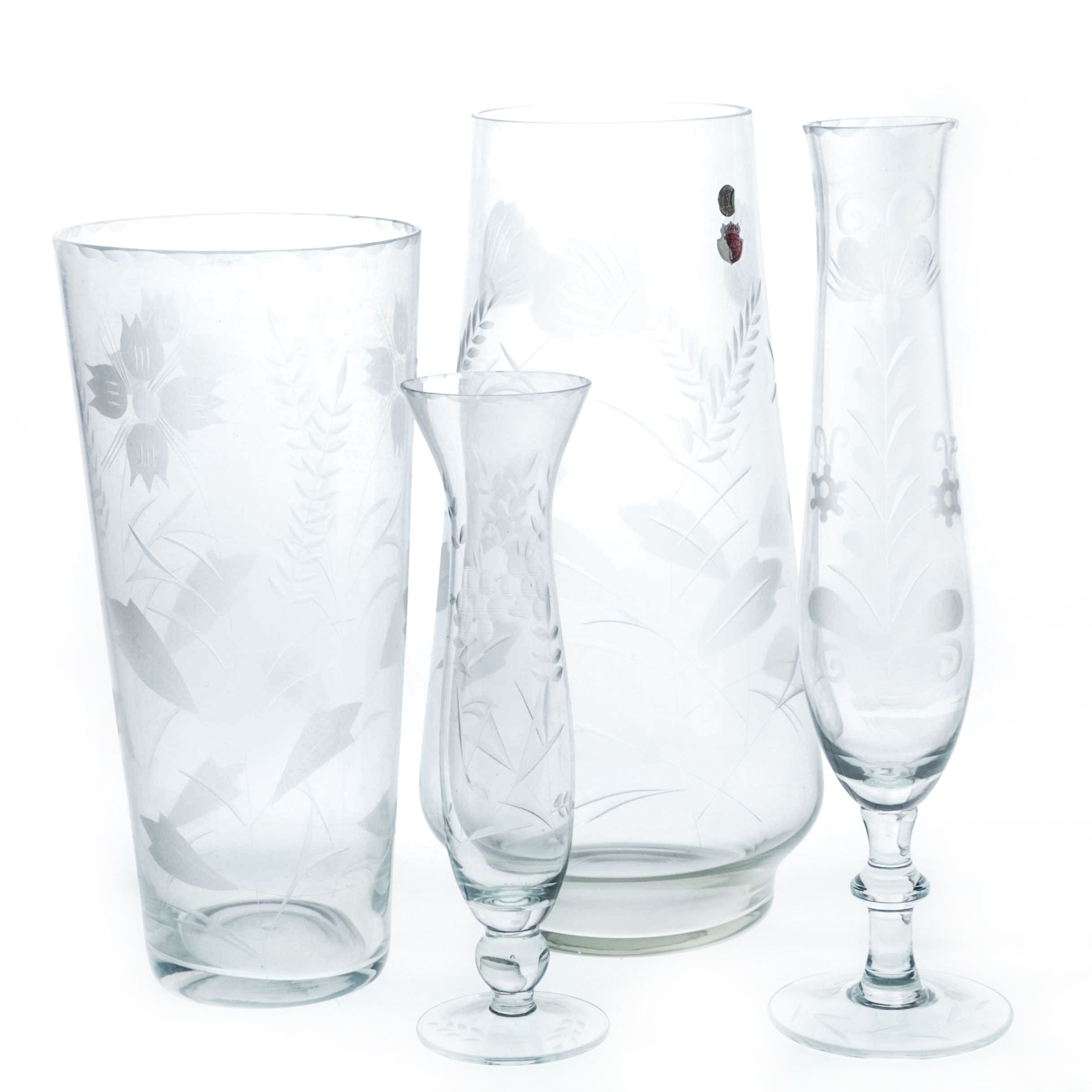 Romanian Etched Crystal Vases