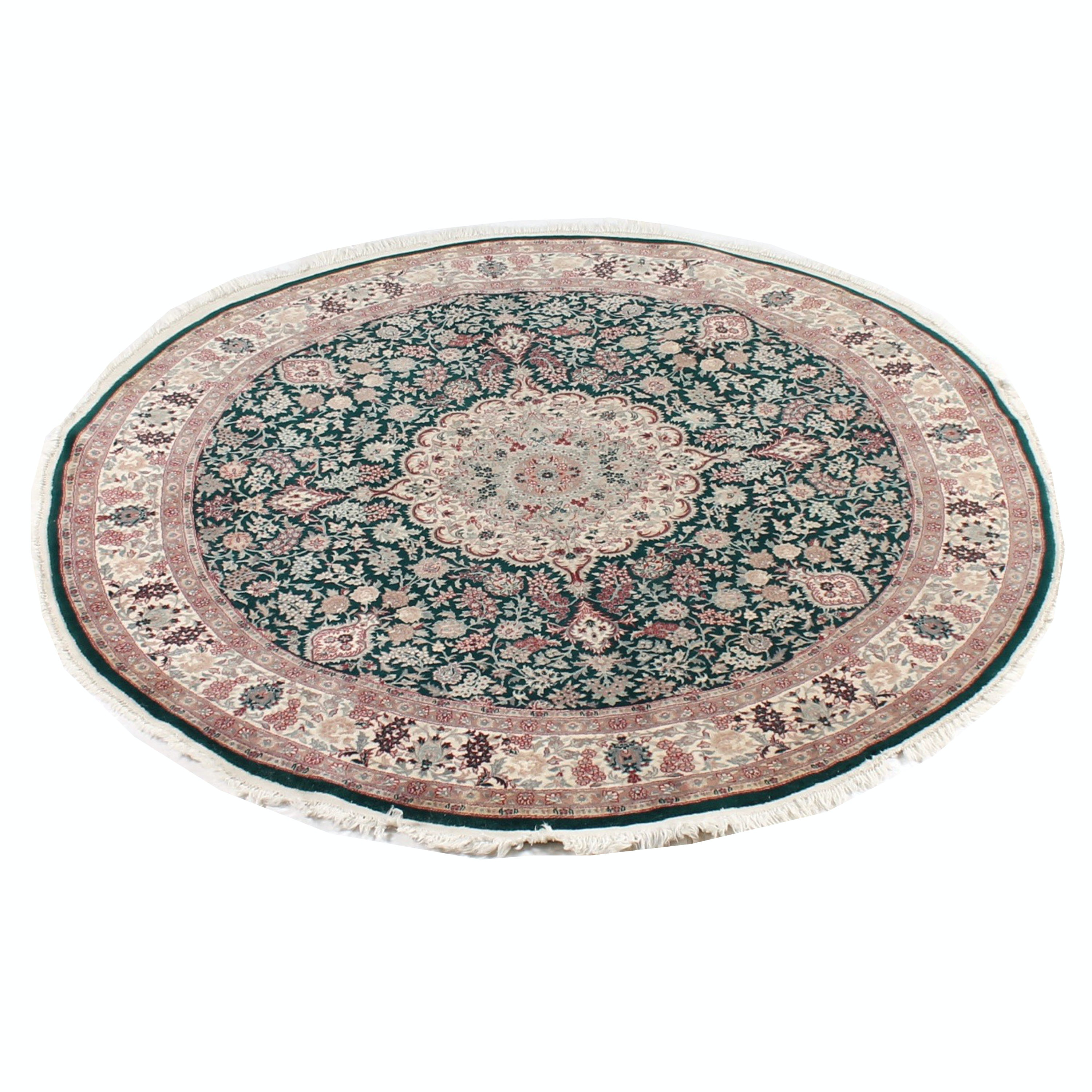 Hand-Knotted Indo-Persian Round Area Rug