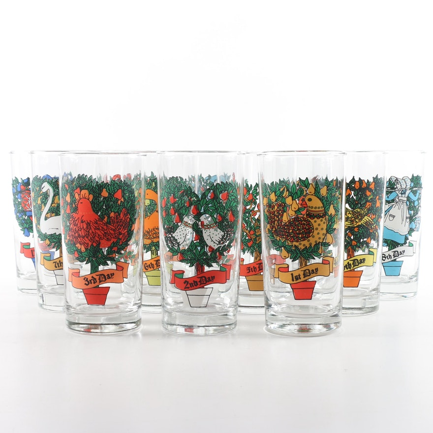 vintage 12 days of christmas drinking glasses - Christmas Drinking Glasses