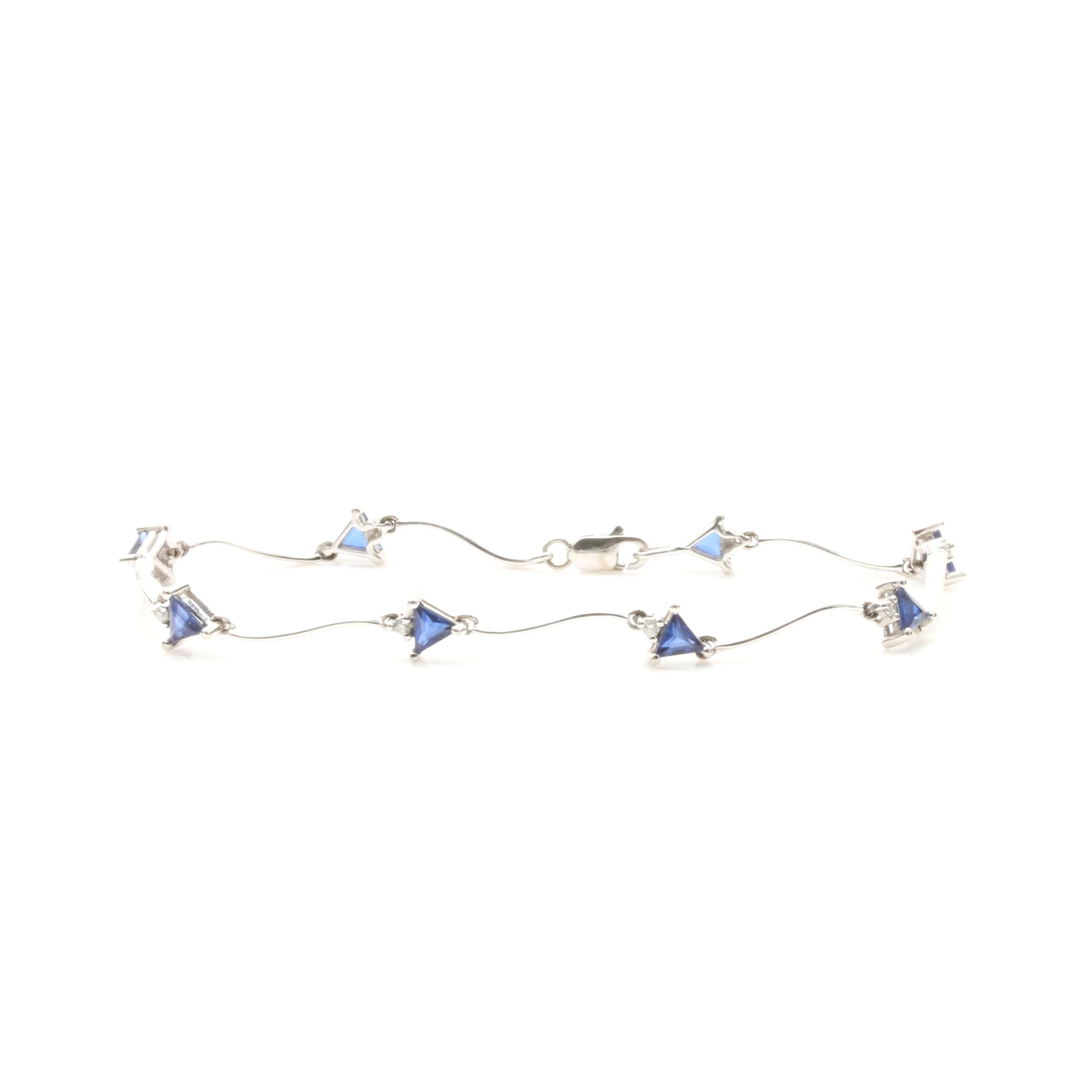 14K White Gold Synthetic Blue Sapphire and Diamond Bracelet