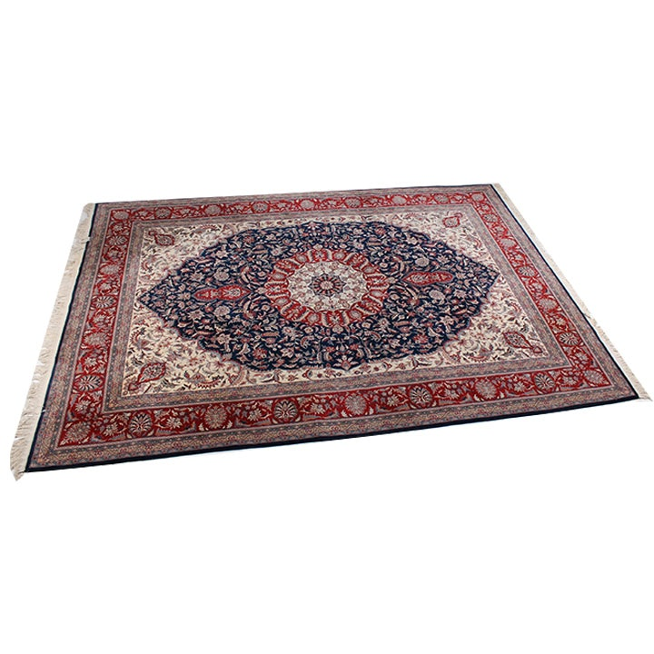 """Hand-Knotted Indo-Persian """"Isfahan"""" Area Rug"""
