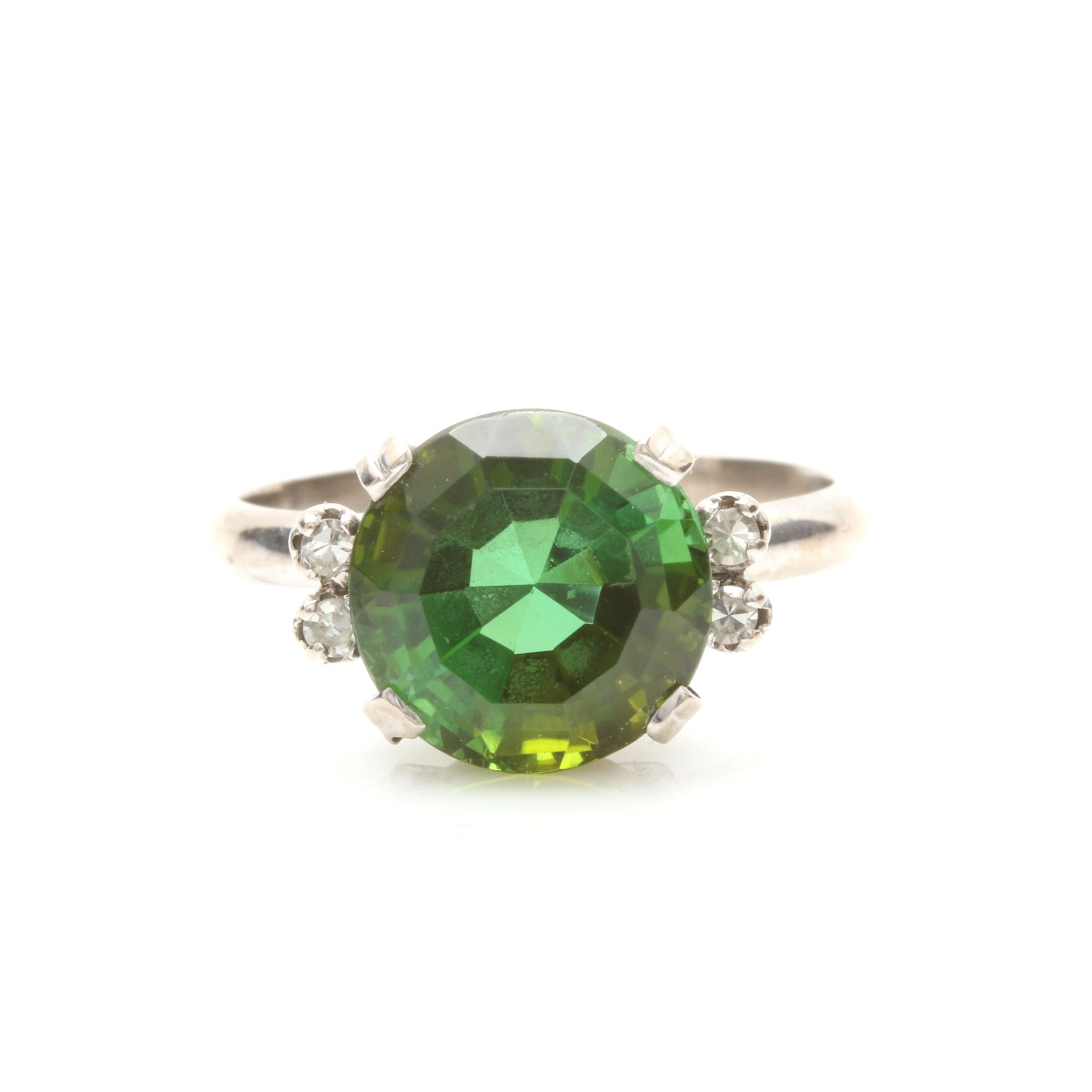 14K and 18K White Gold 4.11 CT Green Tourmaline and Diamond Ring