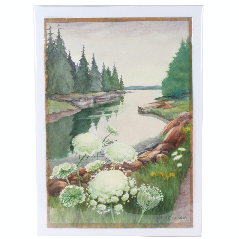 June Carver Roberts Watercolor Landscape