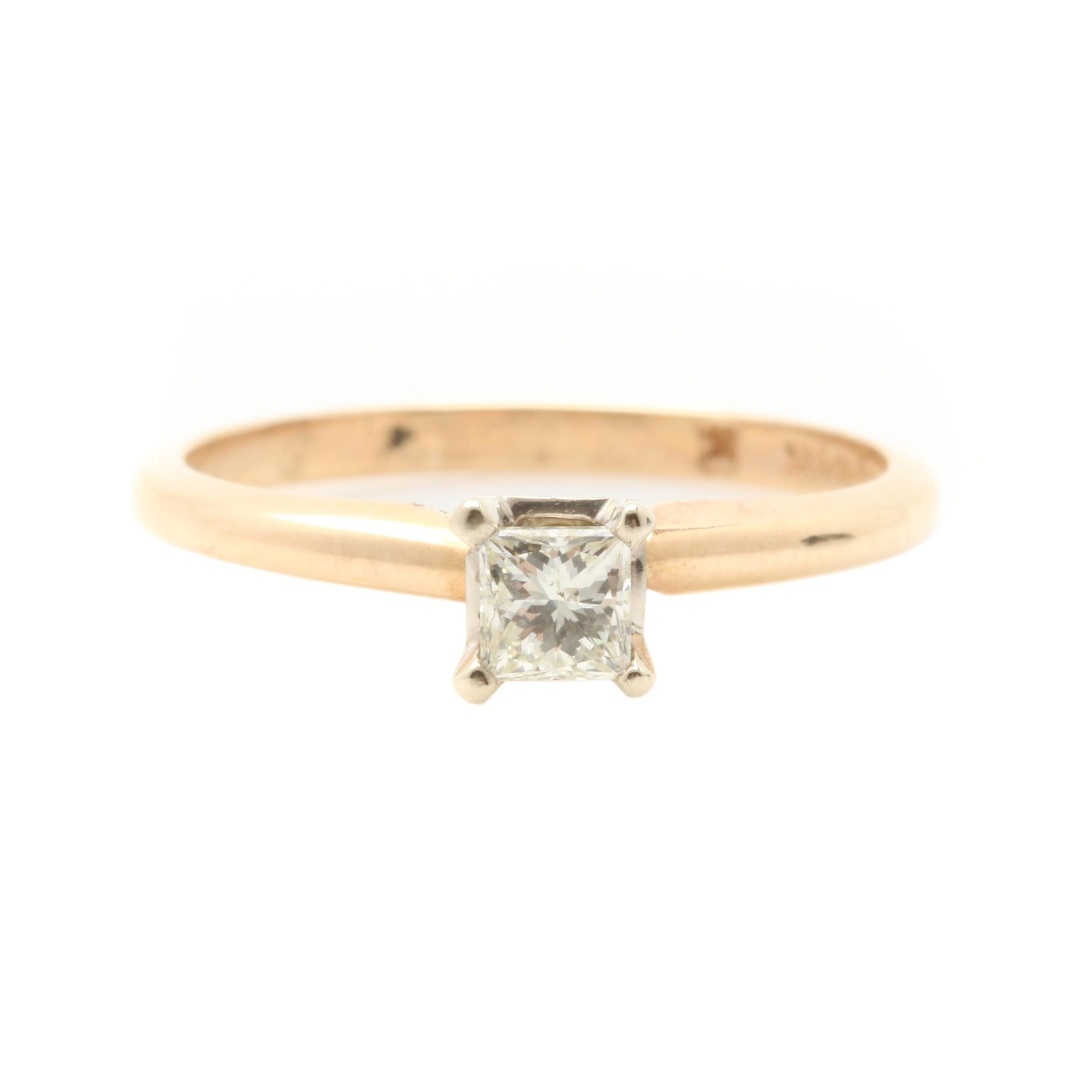14K Yellow Gold Princess Diamond Solitaire Ring