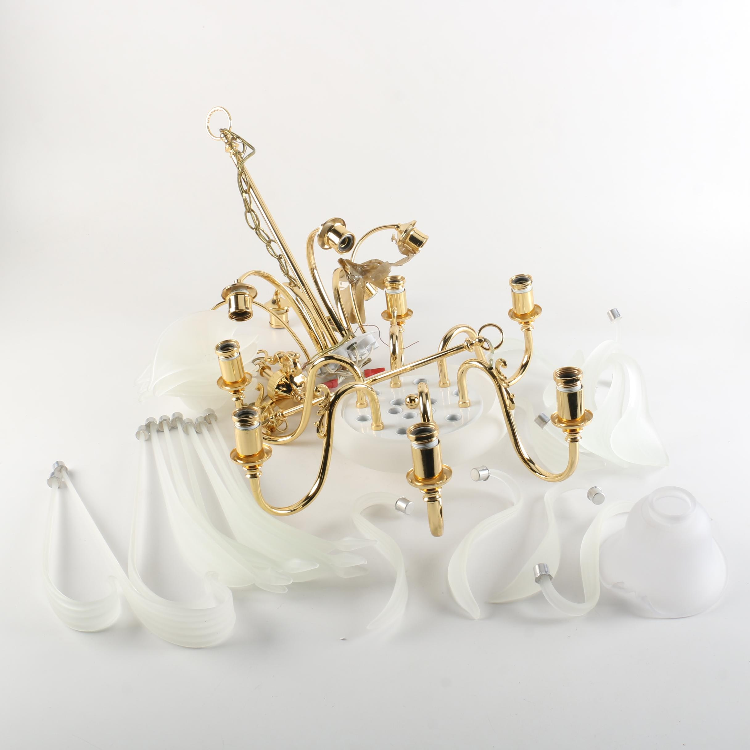 Frosted Glass and Brass Murano Style Chandelier Parts
