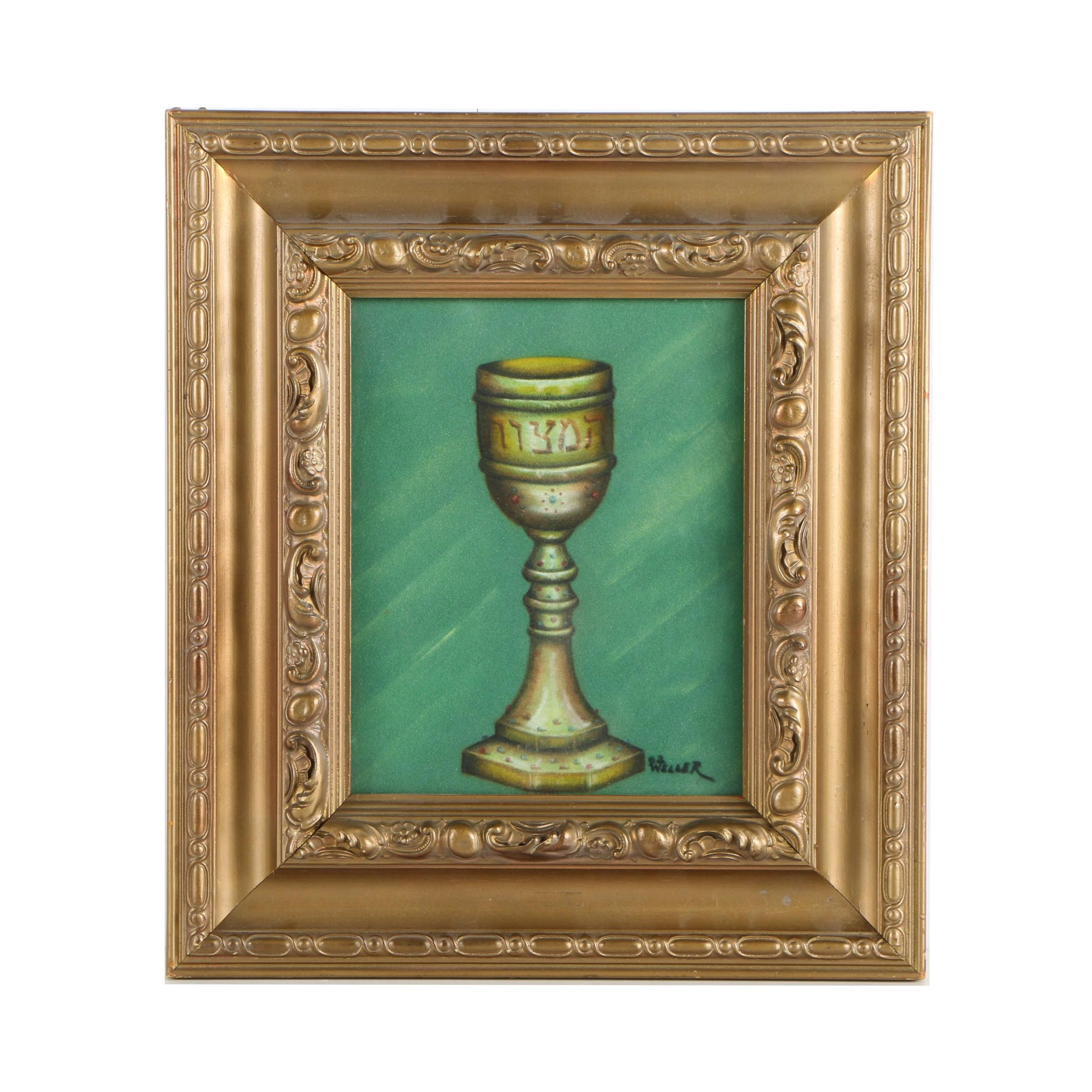 Sandra Z. Weller Oil Pastel Drawing on Paper of Hebrew Inscribed Goblet