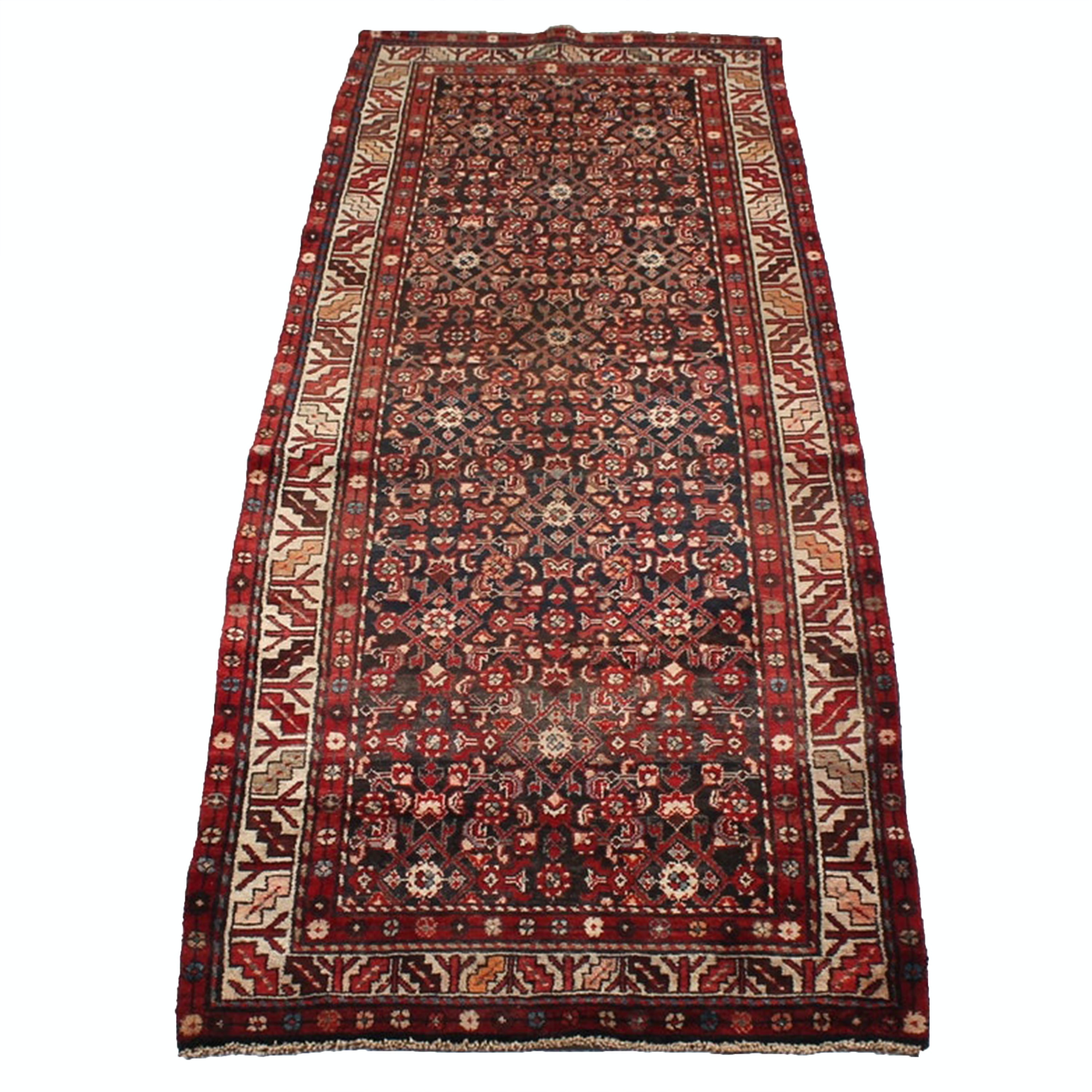 Vintage Hand-Knotted Southern Caucasian Wool Runner