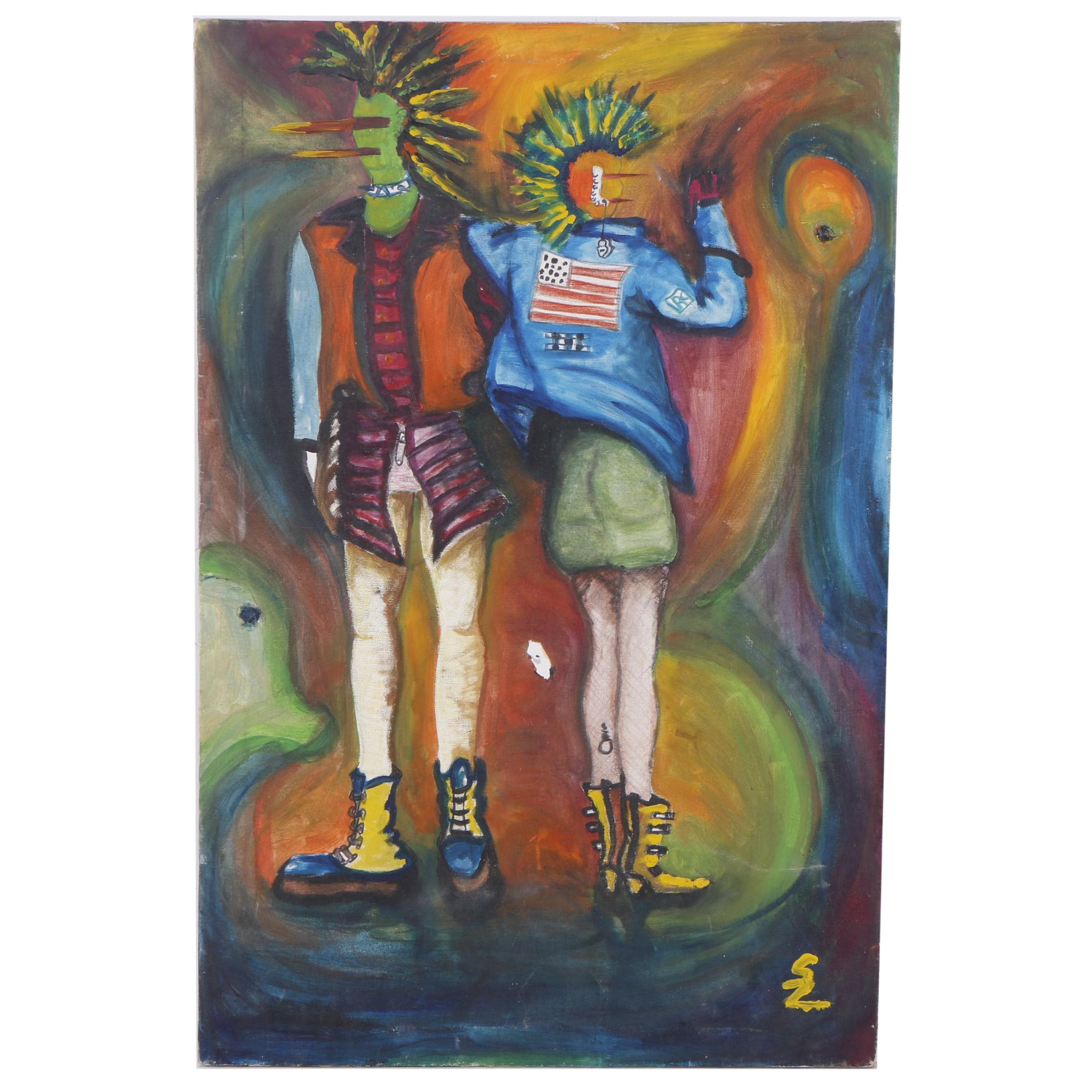 Susan Lelada Oil Painting of a Punk Couple