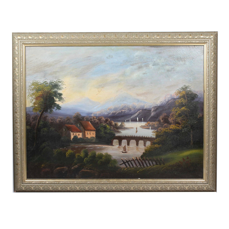 Vintage Oil Painting of Landscape