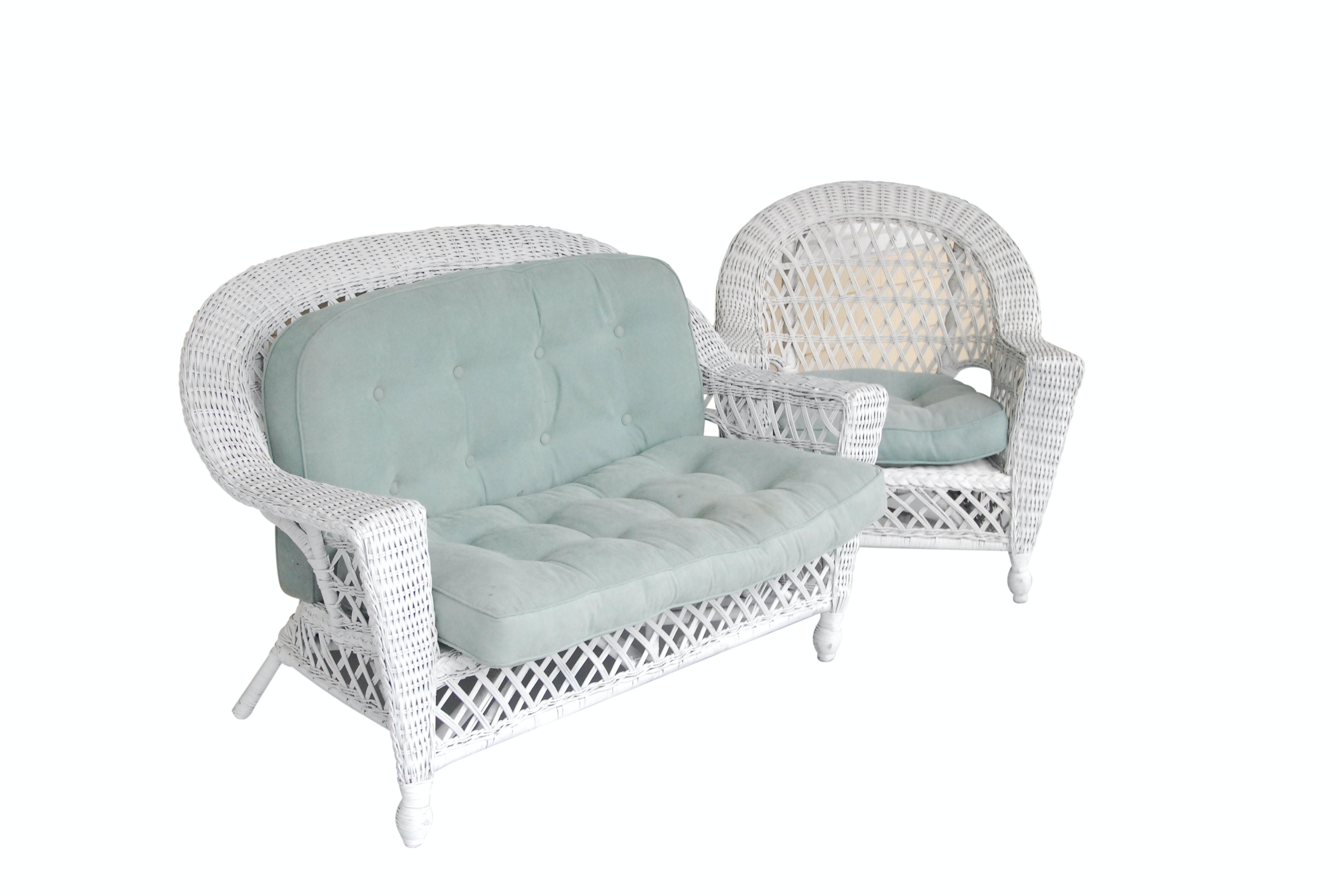 Wicker Loveseat and Armchair