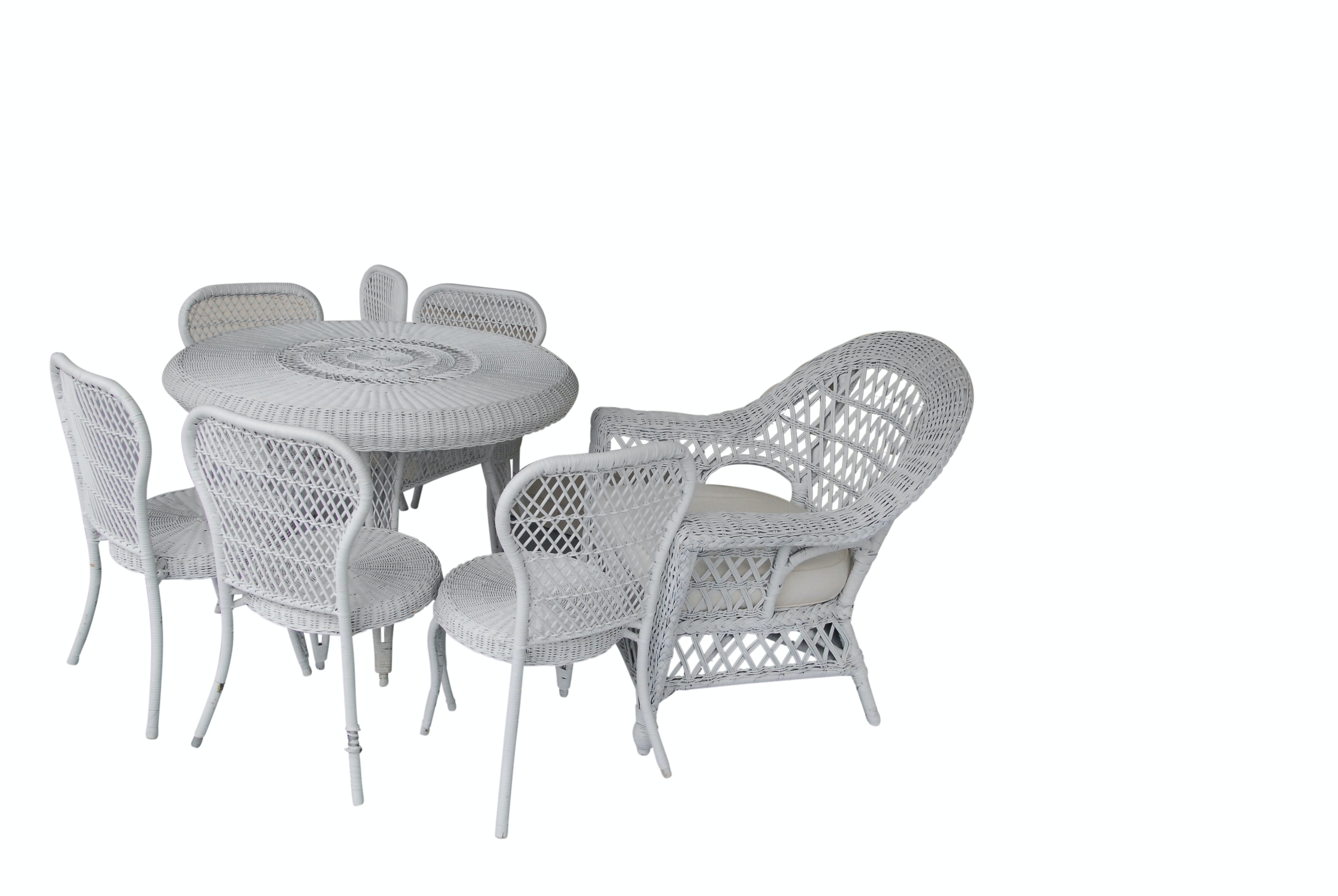 Wicker Table, Side Chairs and Armchair