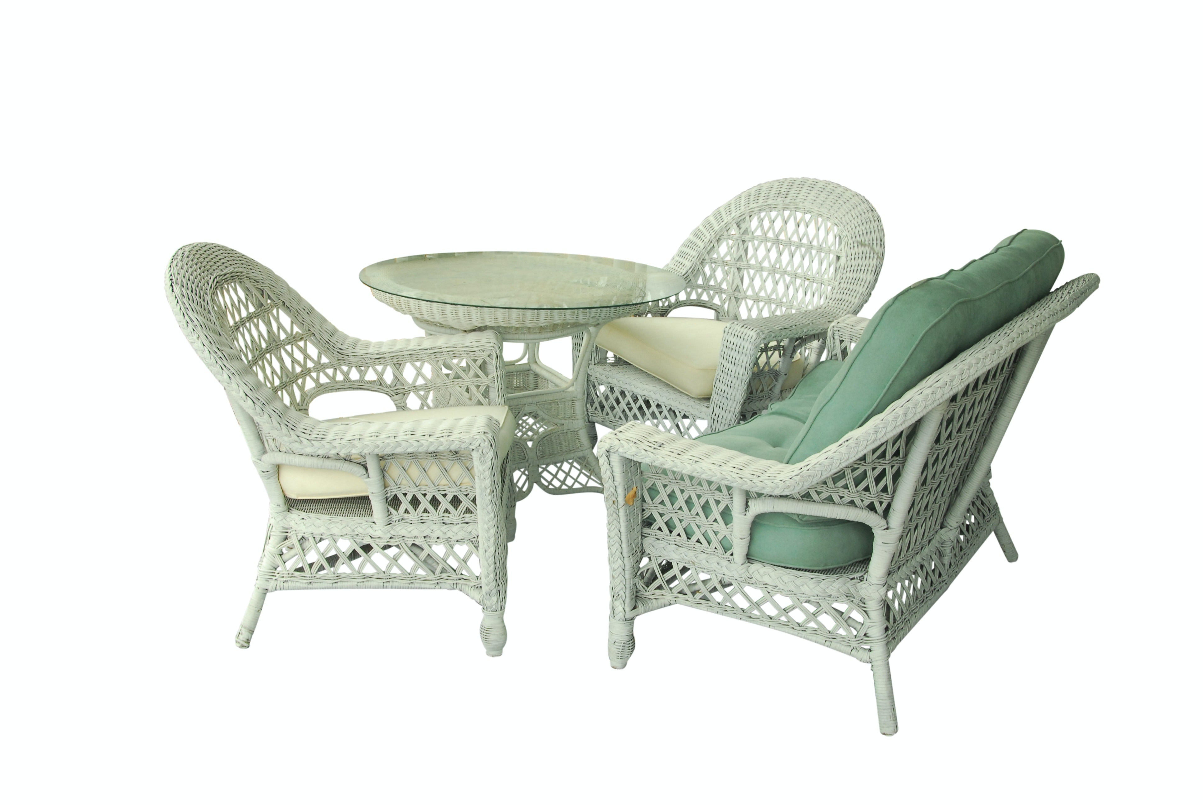 Wicker Loveseat, Armchairs and Table with Glass Top