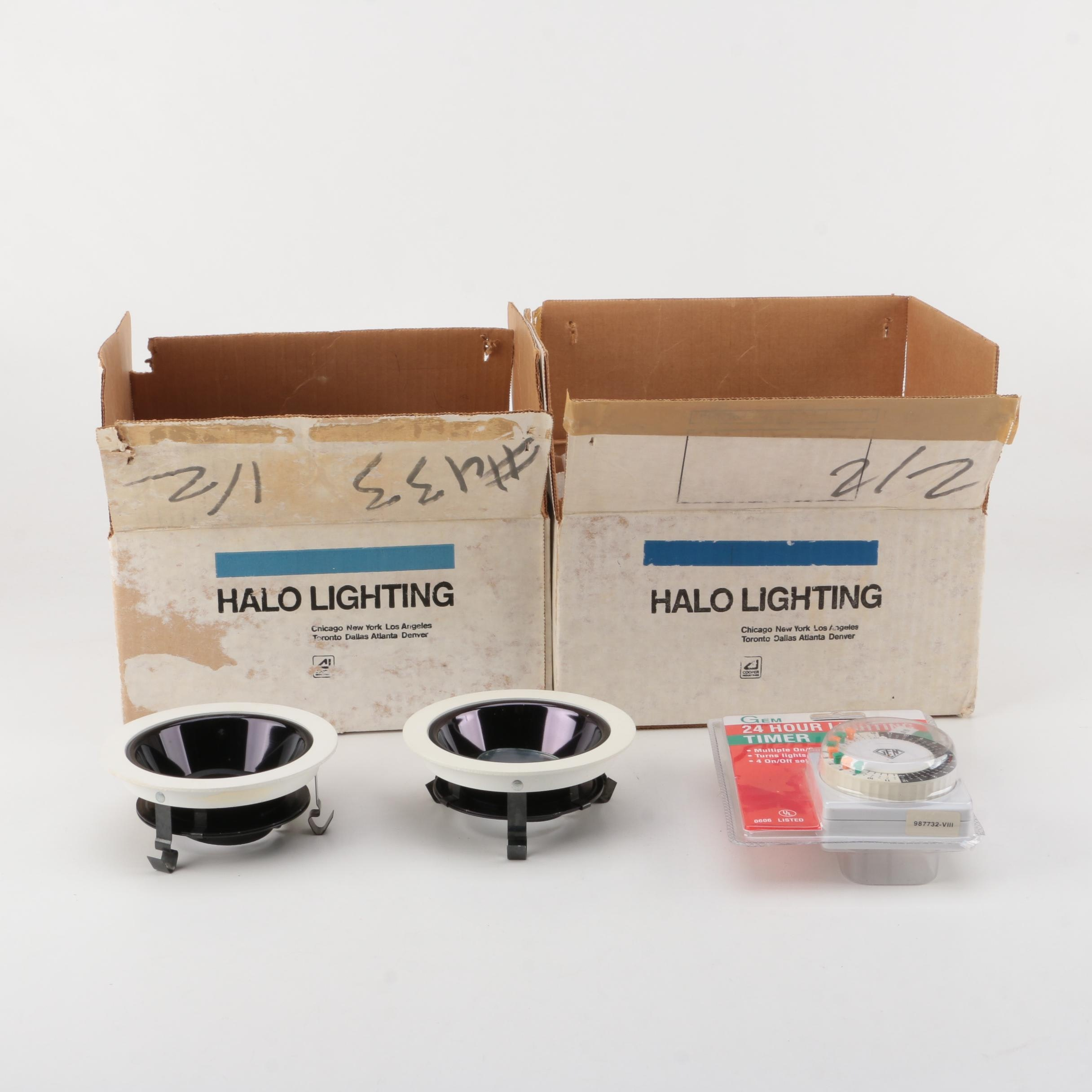 Set of Outdoor Halo Lighting Fixtures and Timer