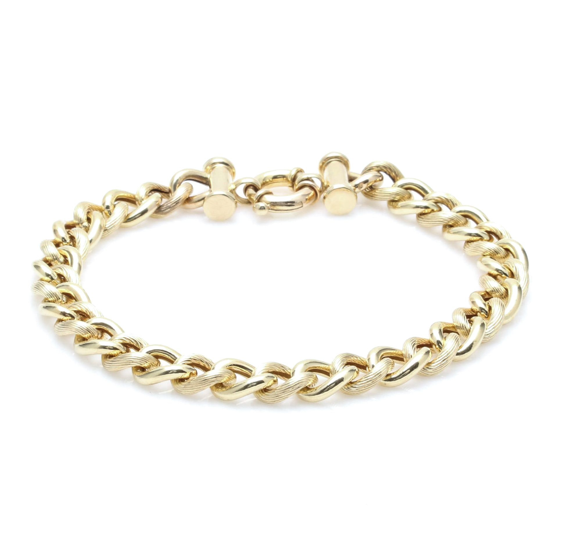 14K Yellow Gold Textured Curb Link Bracelet