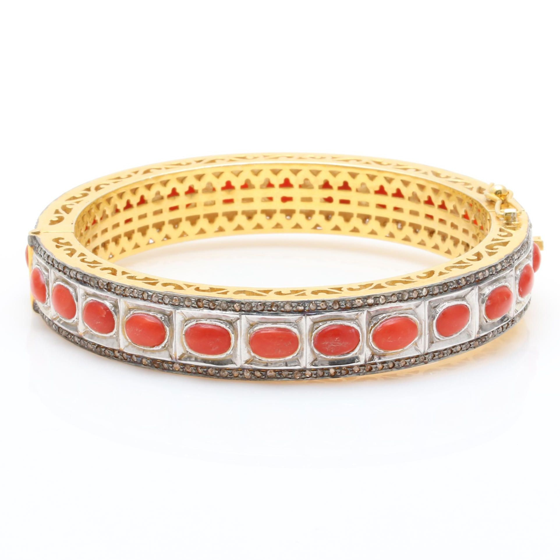 Sterling Silver Coral and Diamond Hinged Bangle