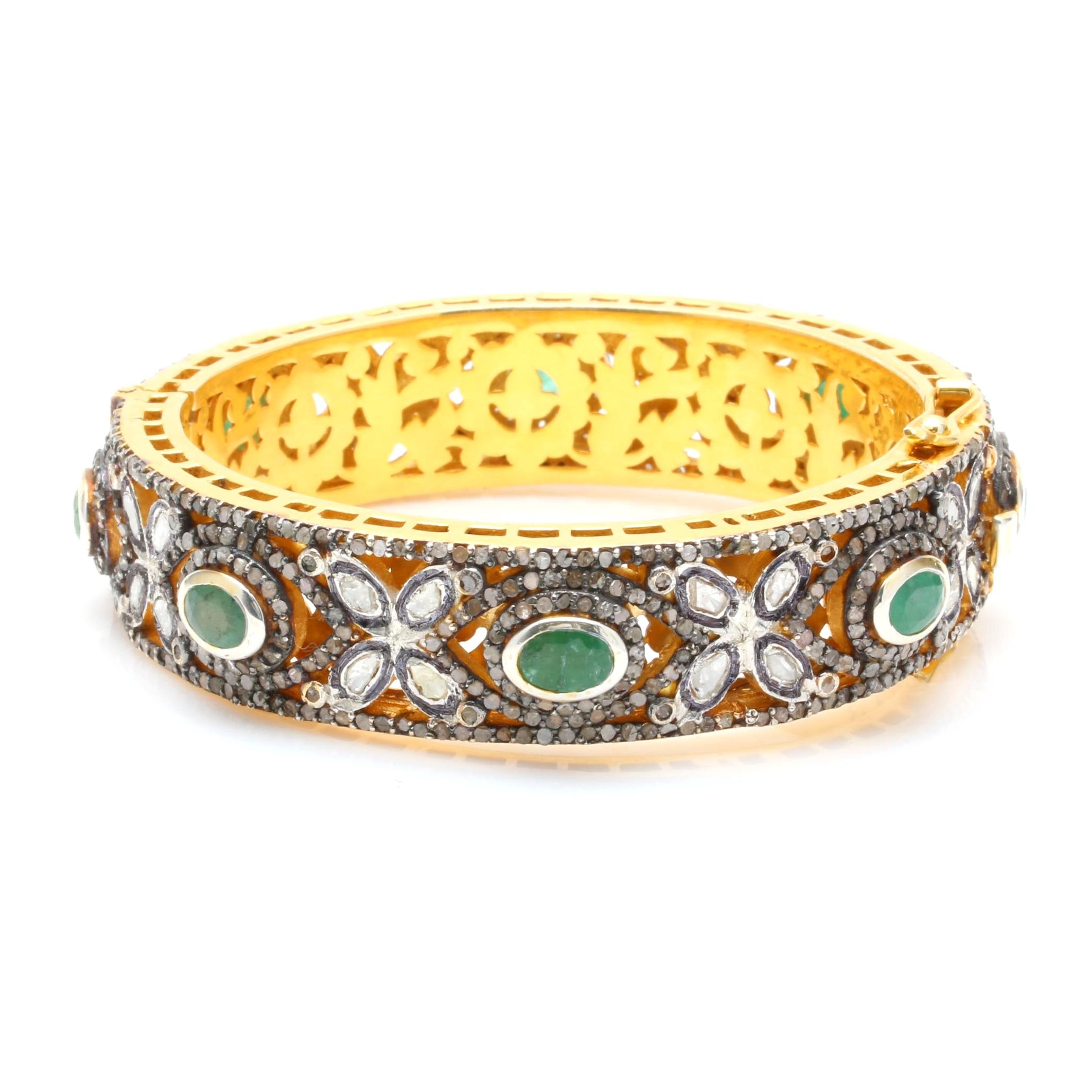 Sterling Silver Emerald and Diamond Hinged Bangle