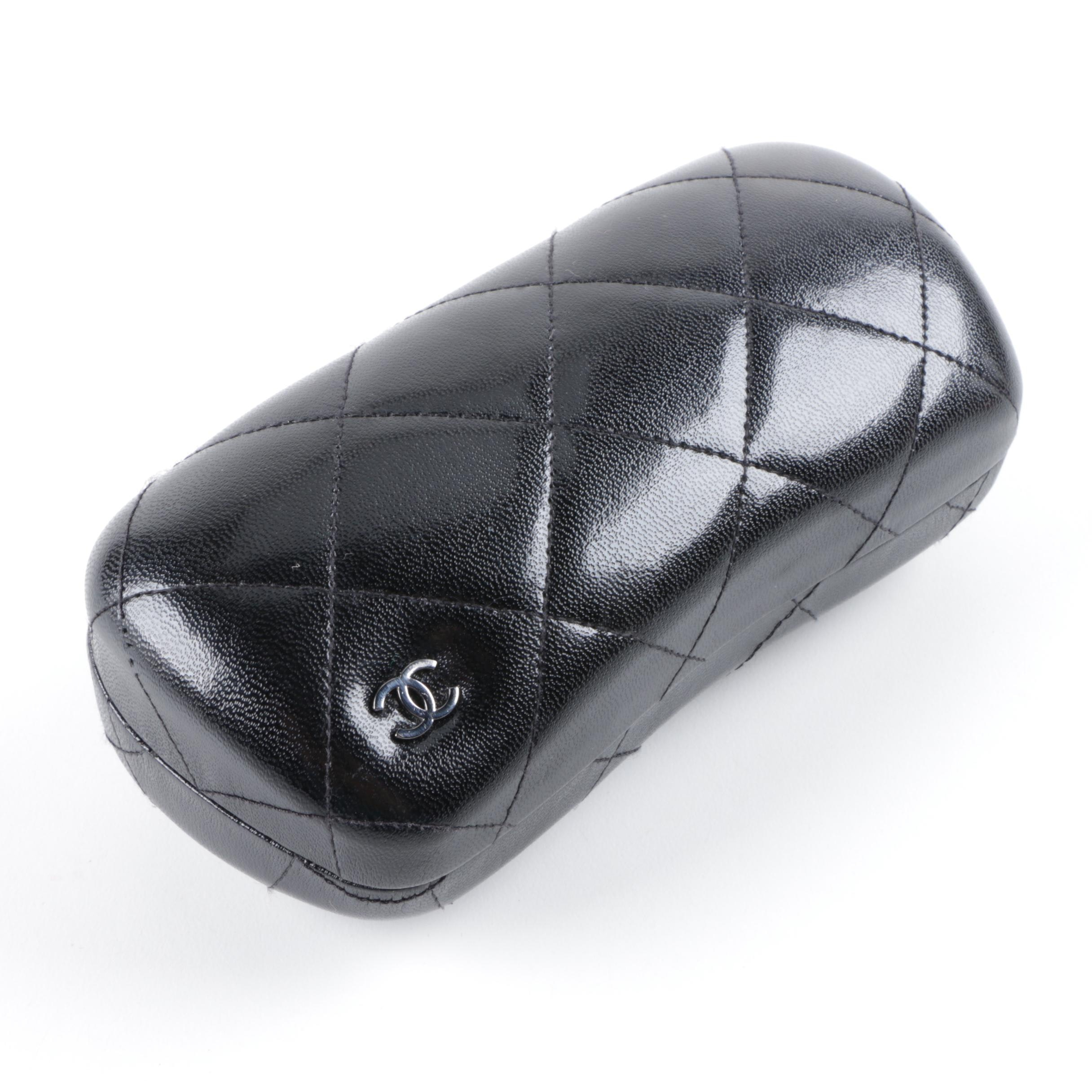 Chanel Black Quilted Leather Glasses Case