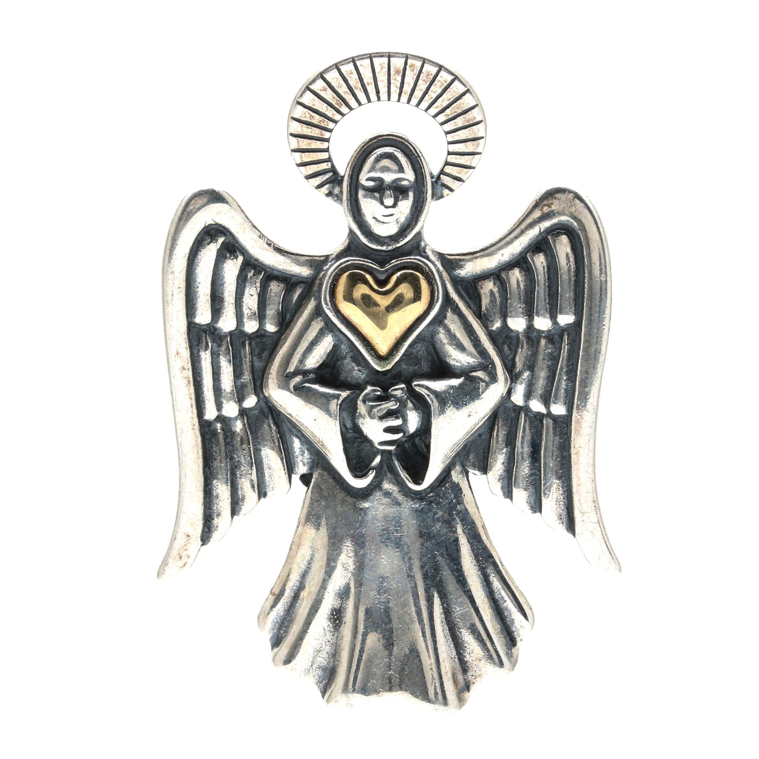 Sterling Silver and 14K Accent Angel Brooch Pendant
