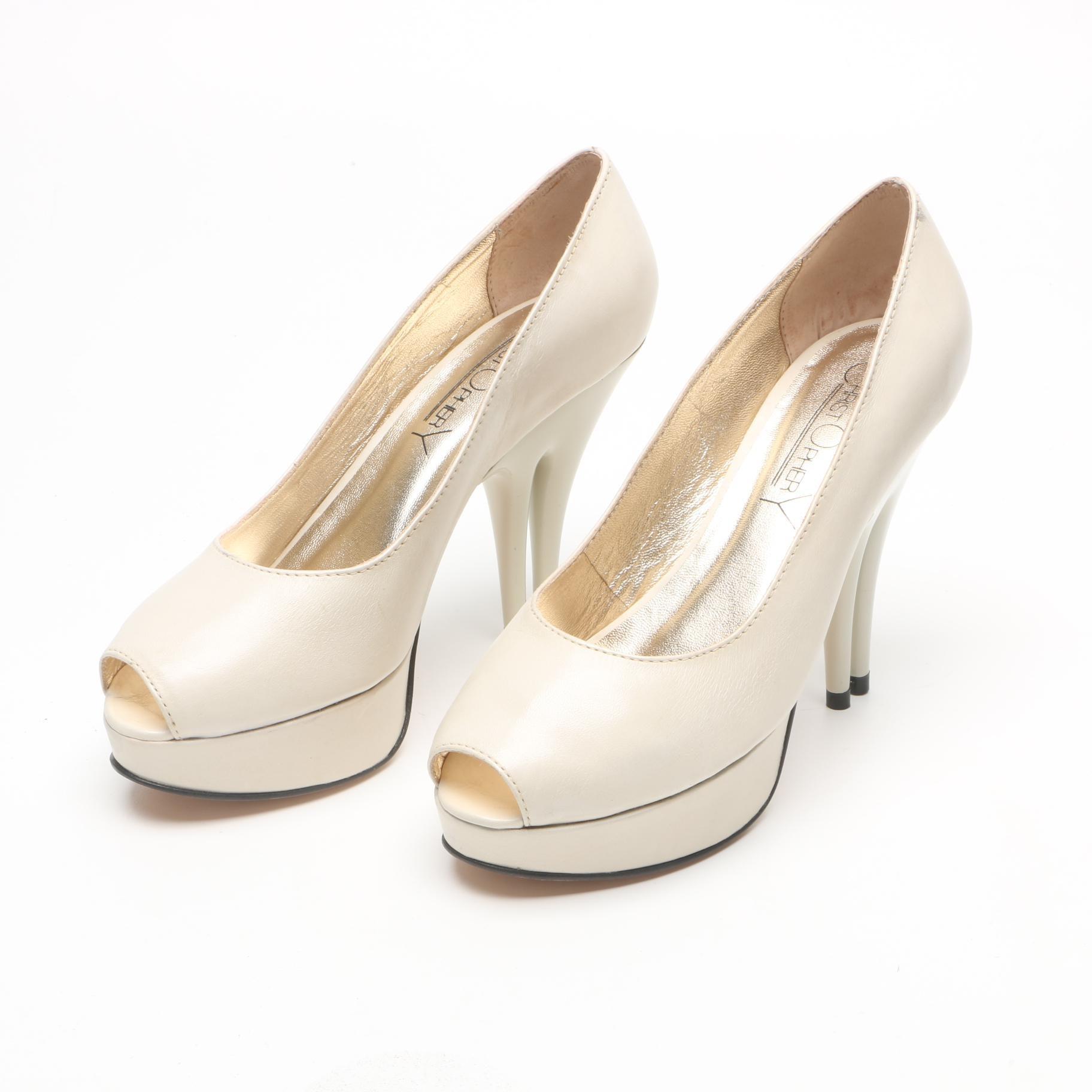 Christopher Coy Ivory Leather Dual Heeled Stilettos