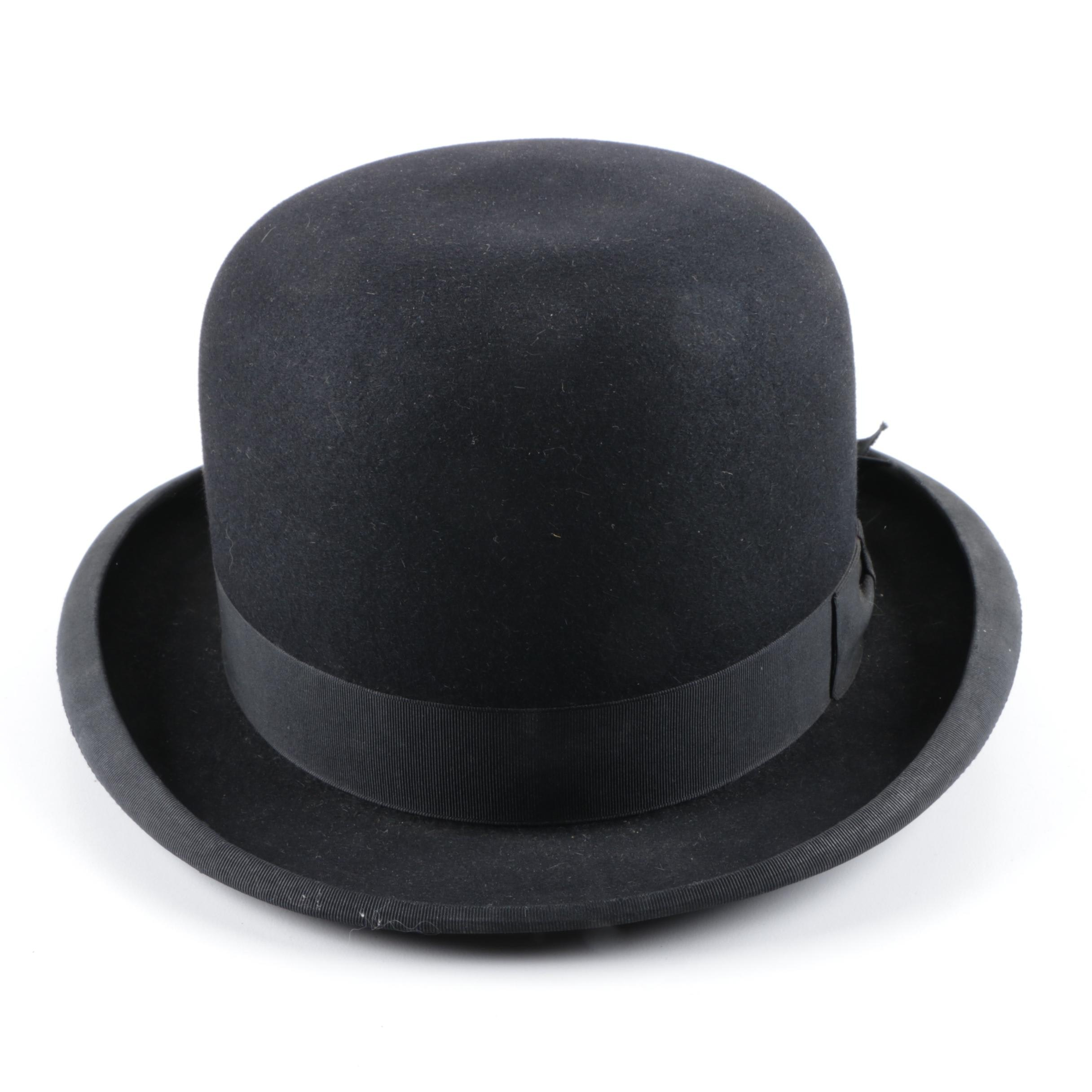 Vintage Wormser Black Felt Bowler Hat with Knox Hat Box