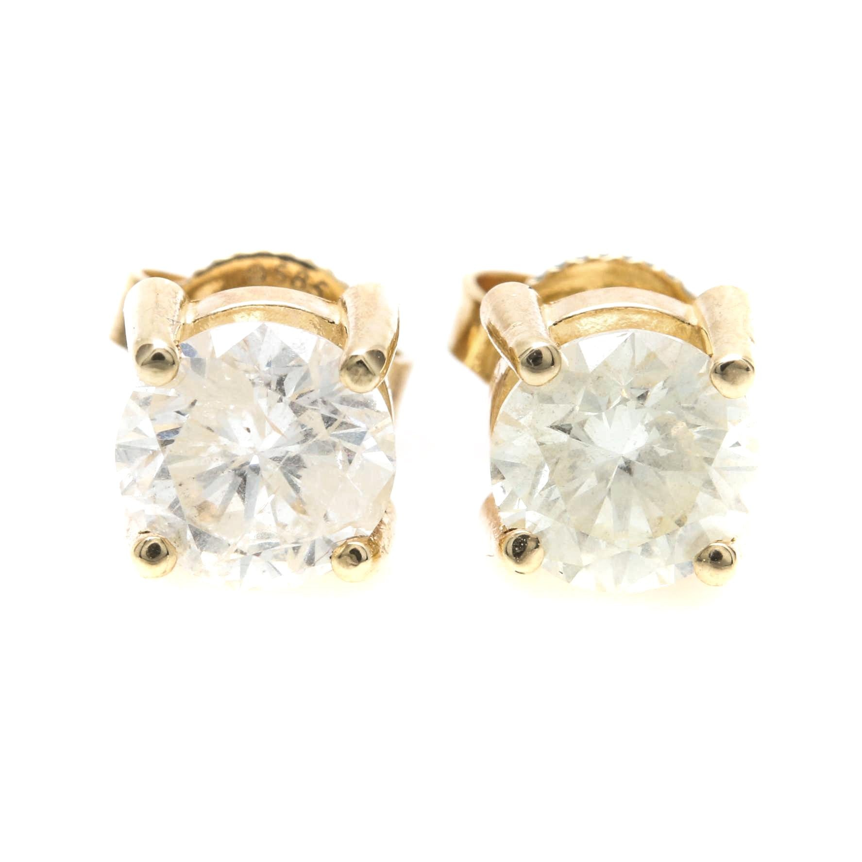 14K Yellow Gold 1.38 CTW Diamond Stud Earrings