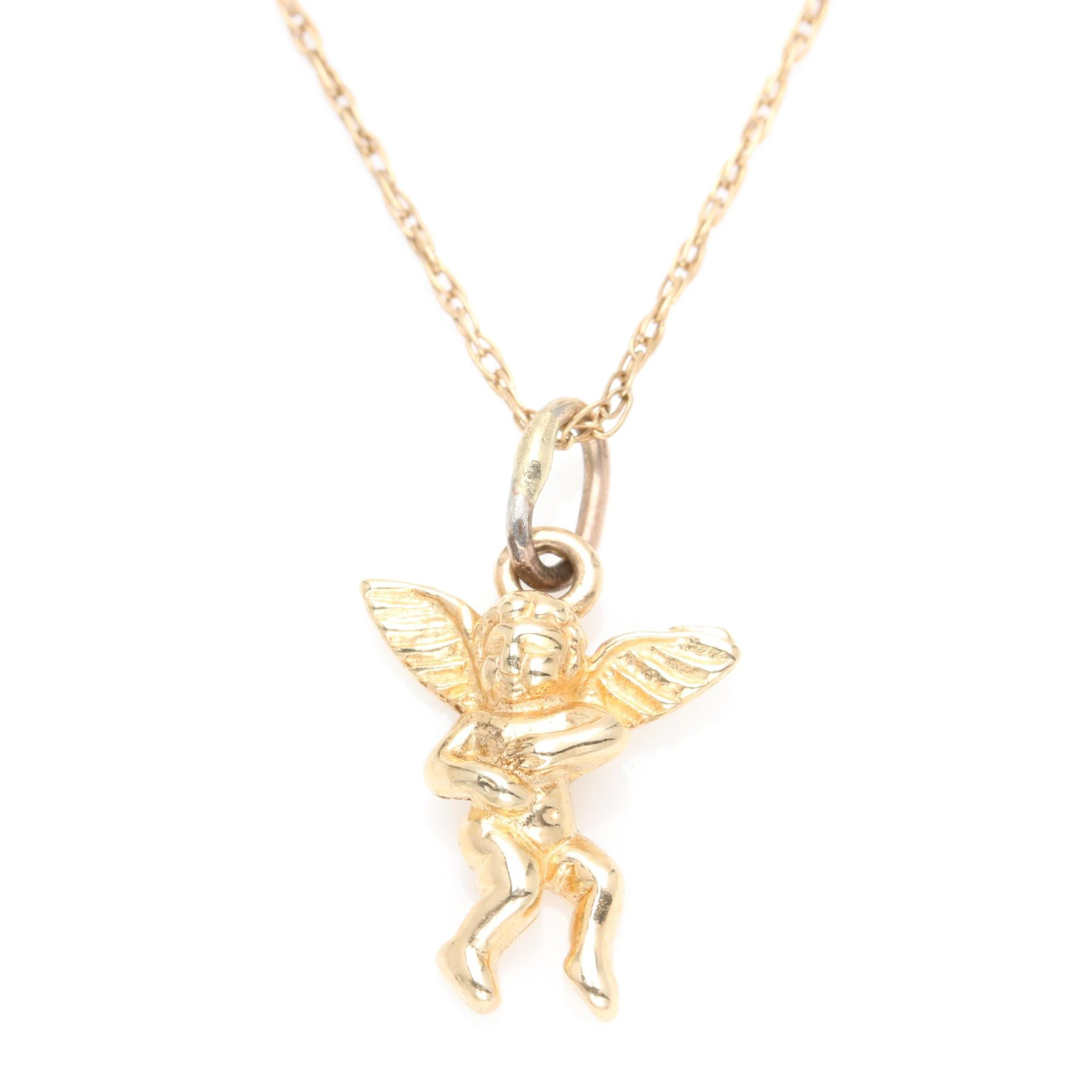 14K Yellow Gold Cherub Pendant Necklace