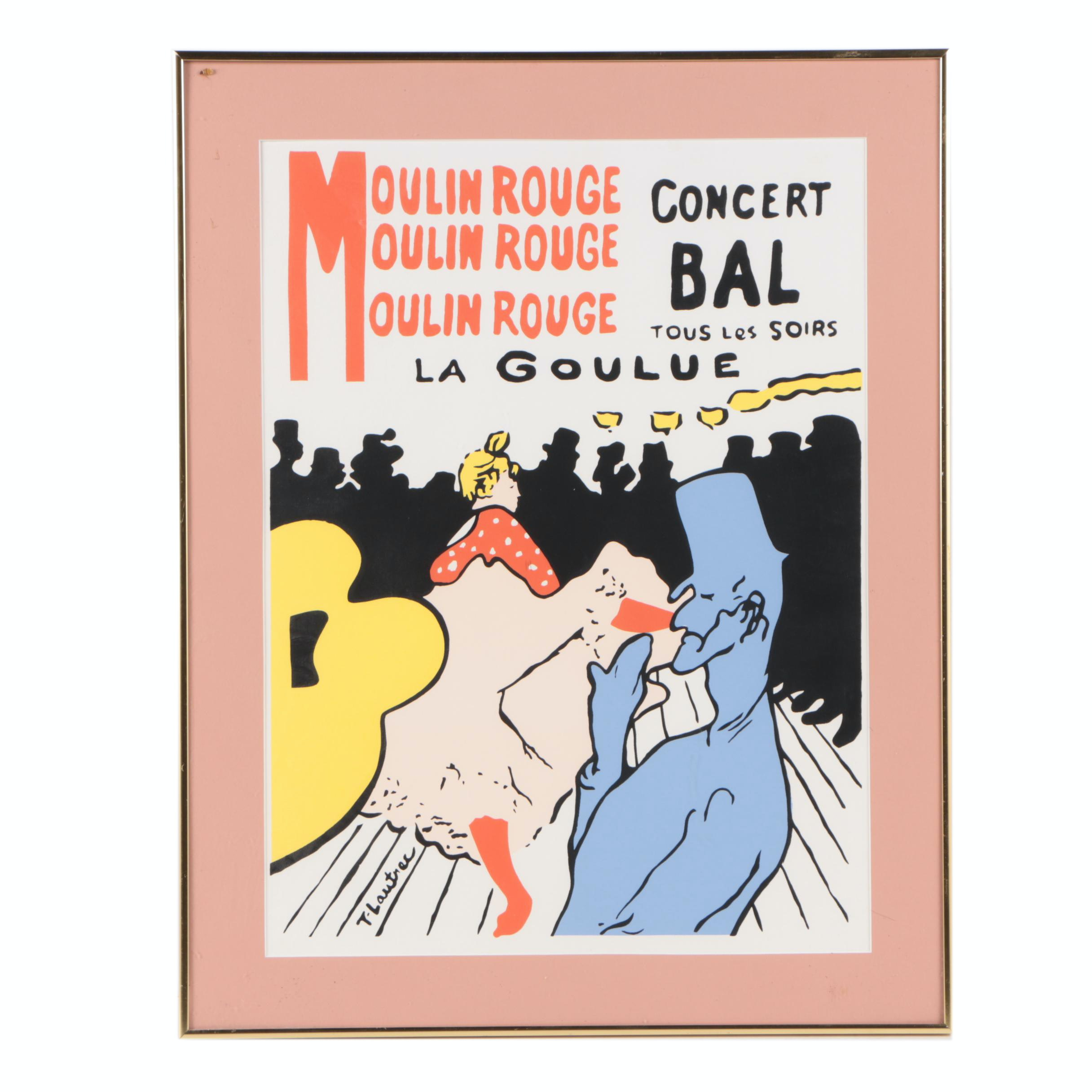 Serigraph After Toulouse-Lautrec Poster for Moulin Rouge