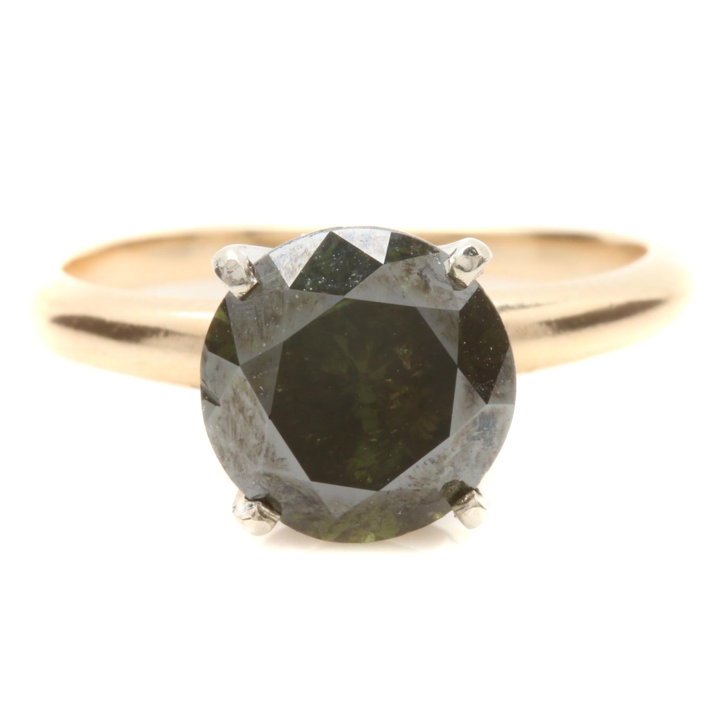 14K Yellow Gold Green 2.48 CT Diamond Ring with White Gold Accents