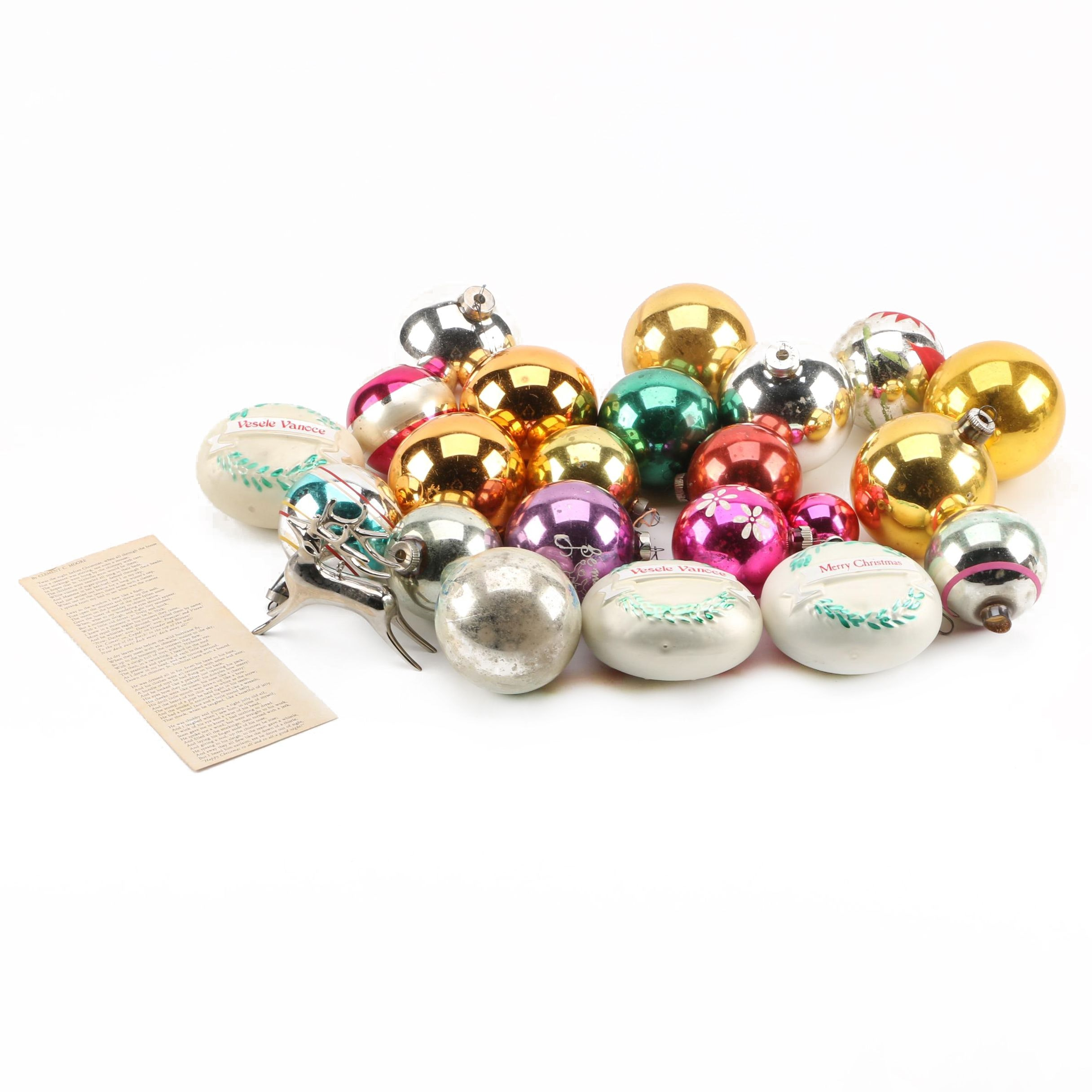 Assorted Vintage Glass Christmas Ornaments