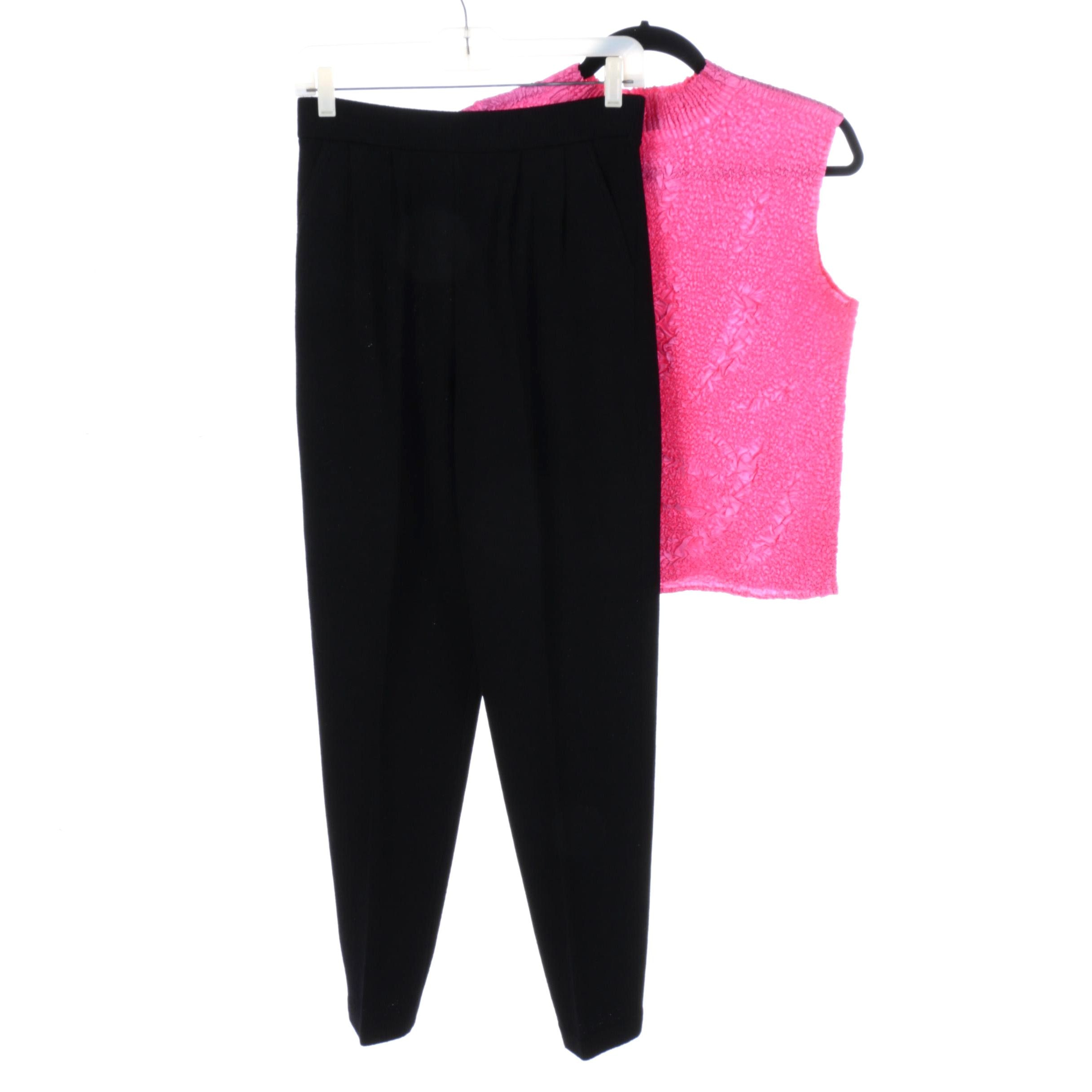 Women's Pink Puckered Stretch Top and Black Knit Pants