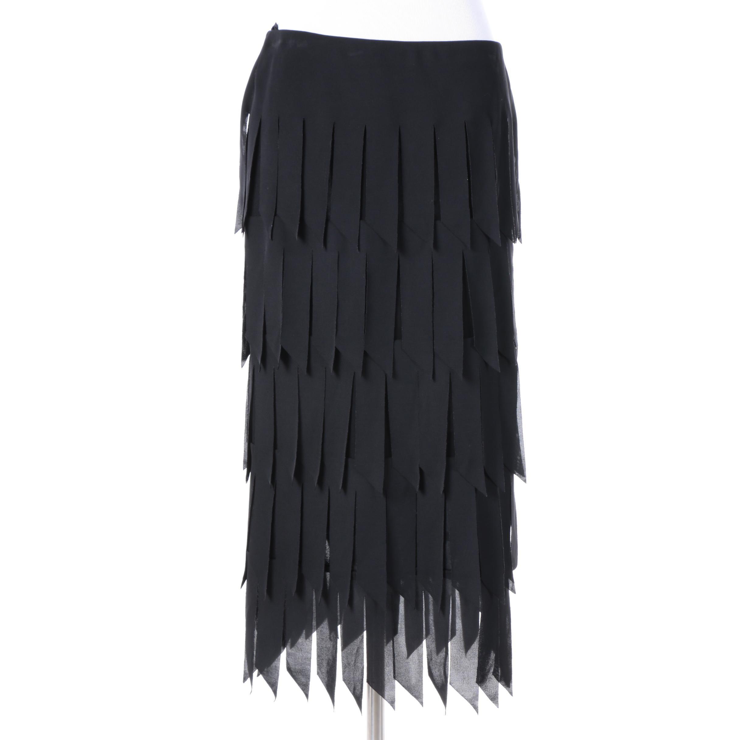 Tadashi Black Fringe Stretch Skirt