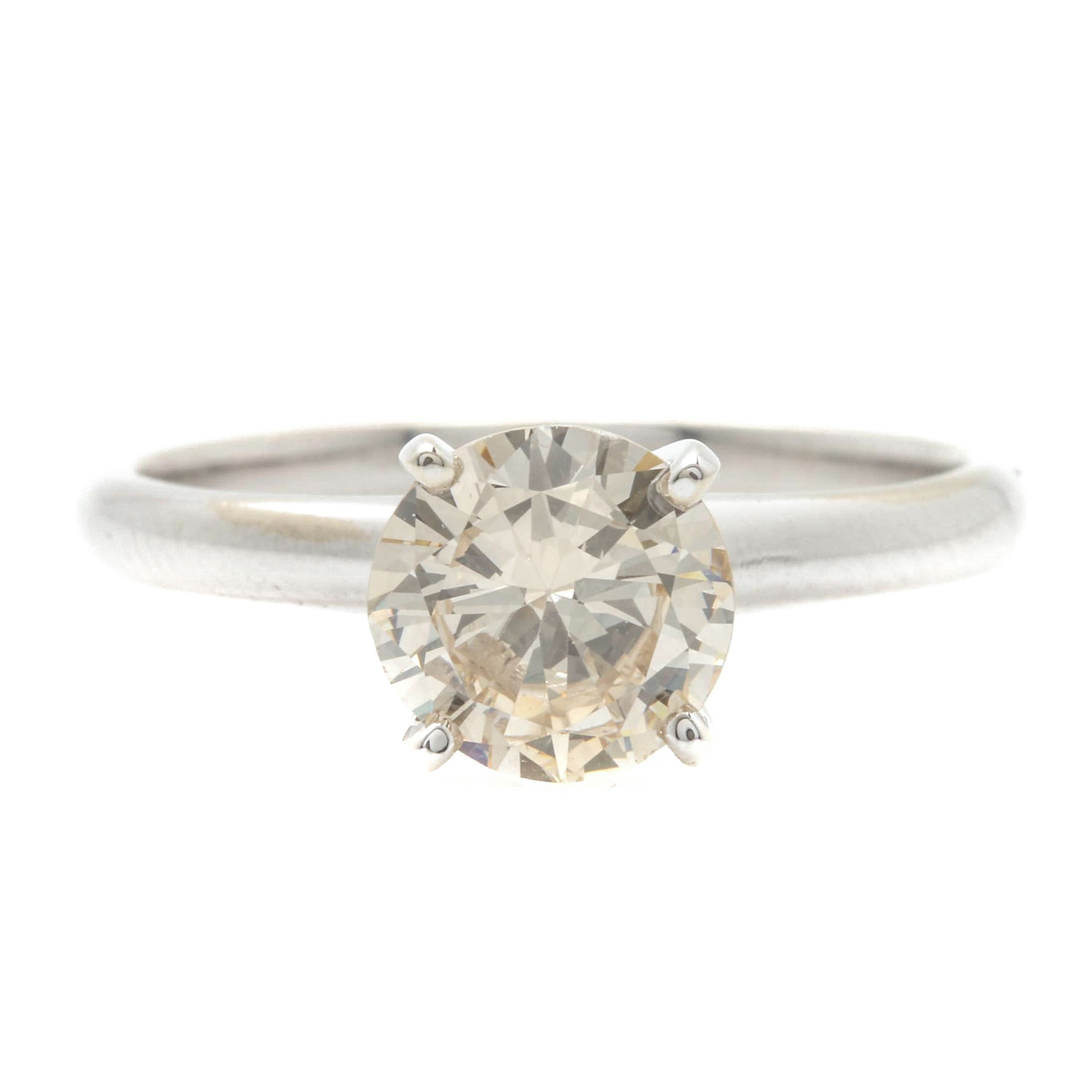 14K White Gold 1.01 CT Diamond Solitaire Ring