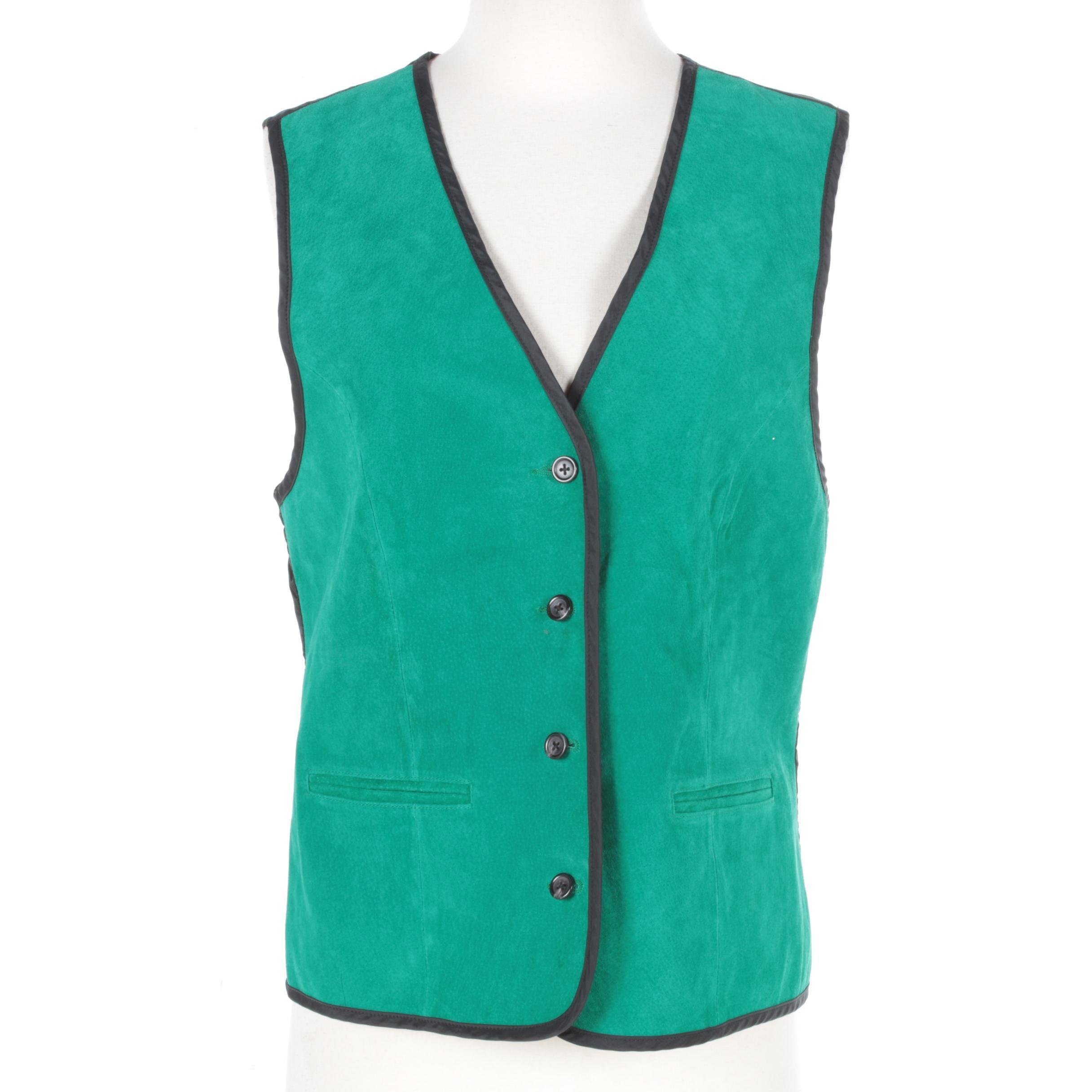 Women's Diane Von Furstenberg Green Suede Leather Vest