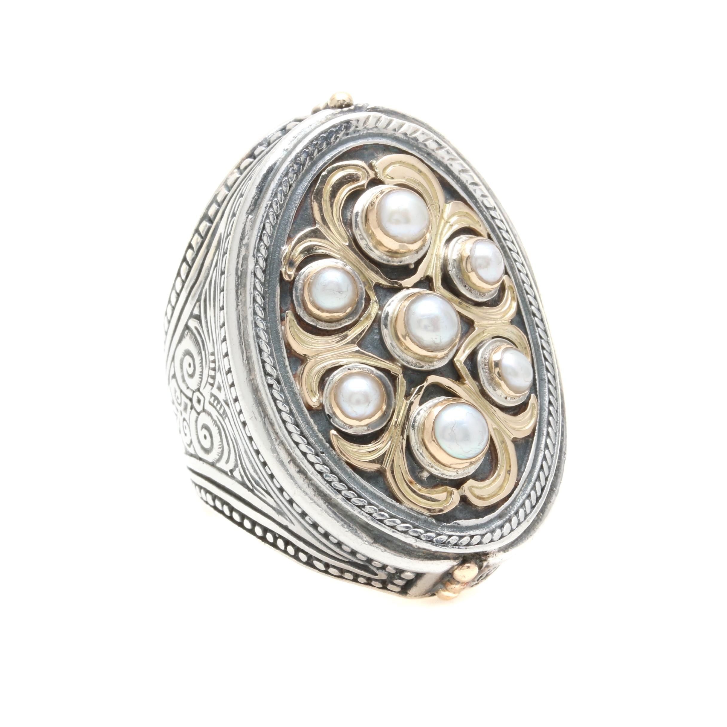 Konstantino Sterling Silver Cultured Pearl Ring with 18K Gold Accents