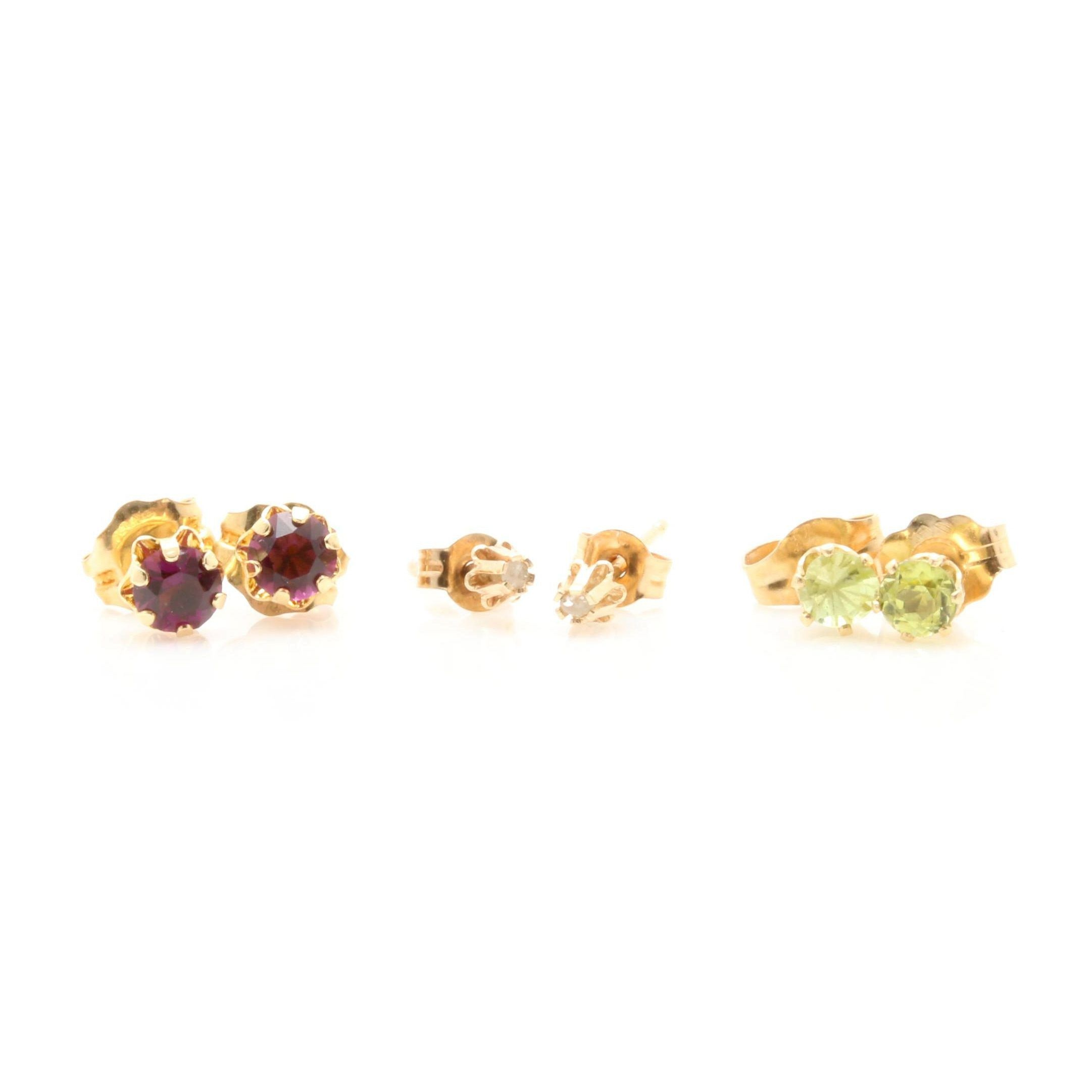 14K Yellow Gold Stud Earring Selection Including Peridot and Diamond